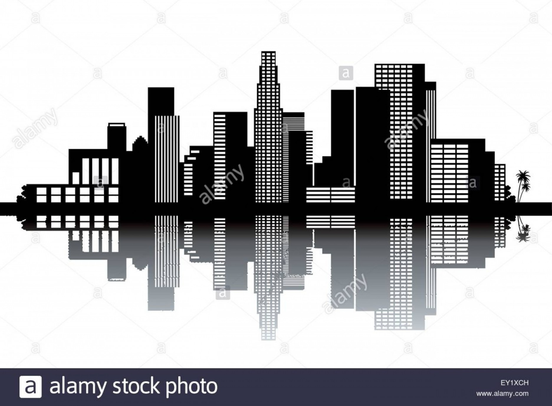 Hollywood Hills Vector: Stock Photo Los Angeles Skyline Black And White Vector Illustration