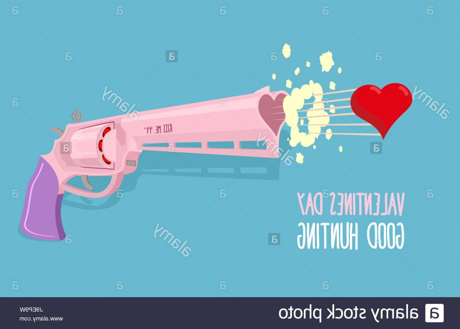 Hunting Heart Vector: Stock Photo Love Gun Valentines Day Gun Shoots At Heart Good Hunting Vector Illustration