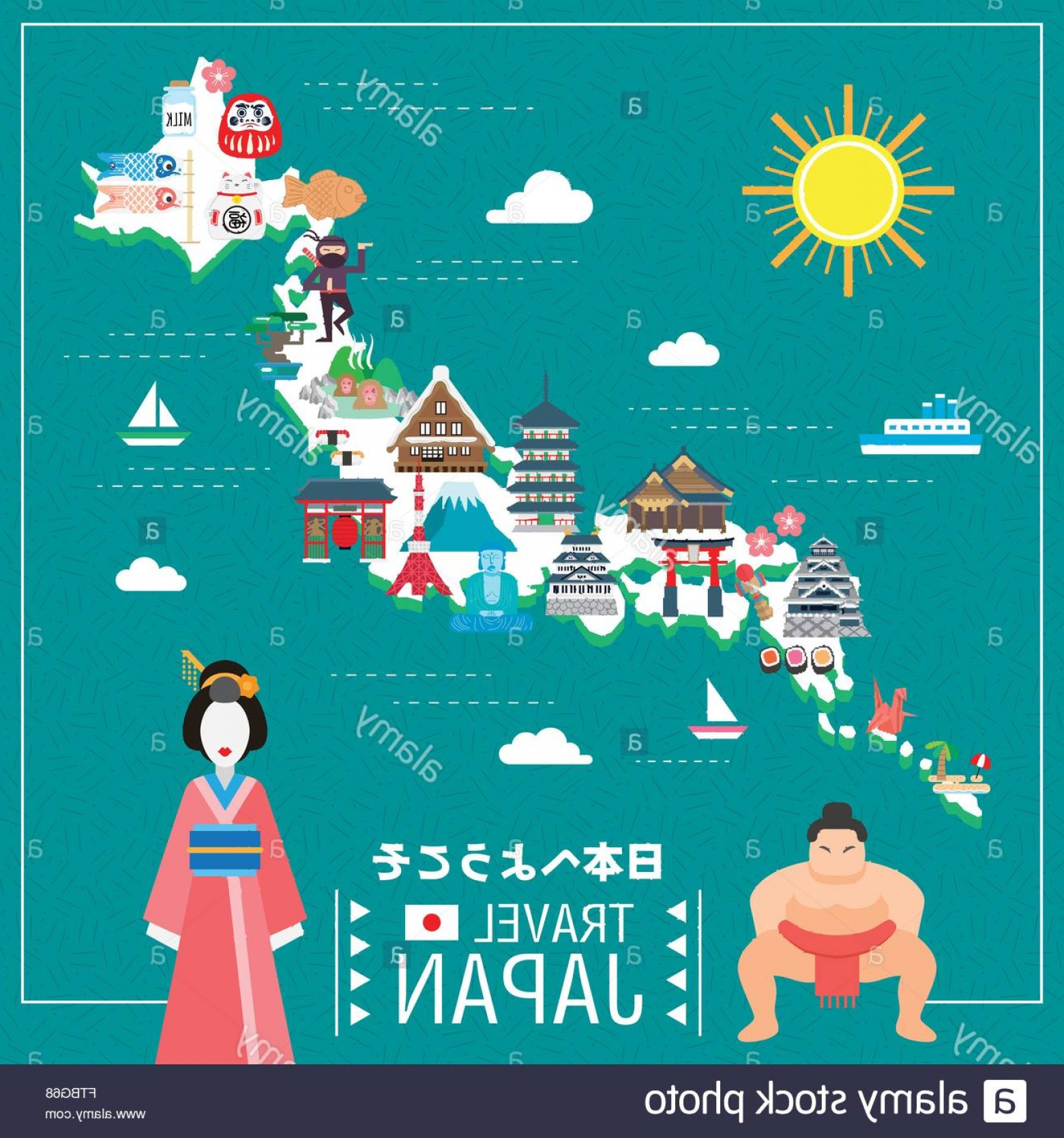 Japan Map Vector: Stock Photo Lovely Japan Travel Map Welcome To Japan In Japanese