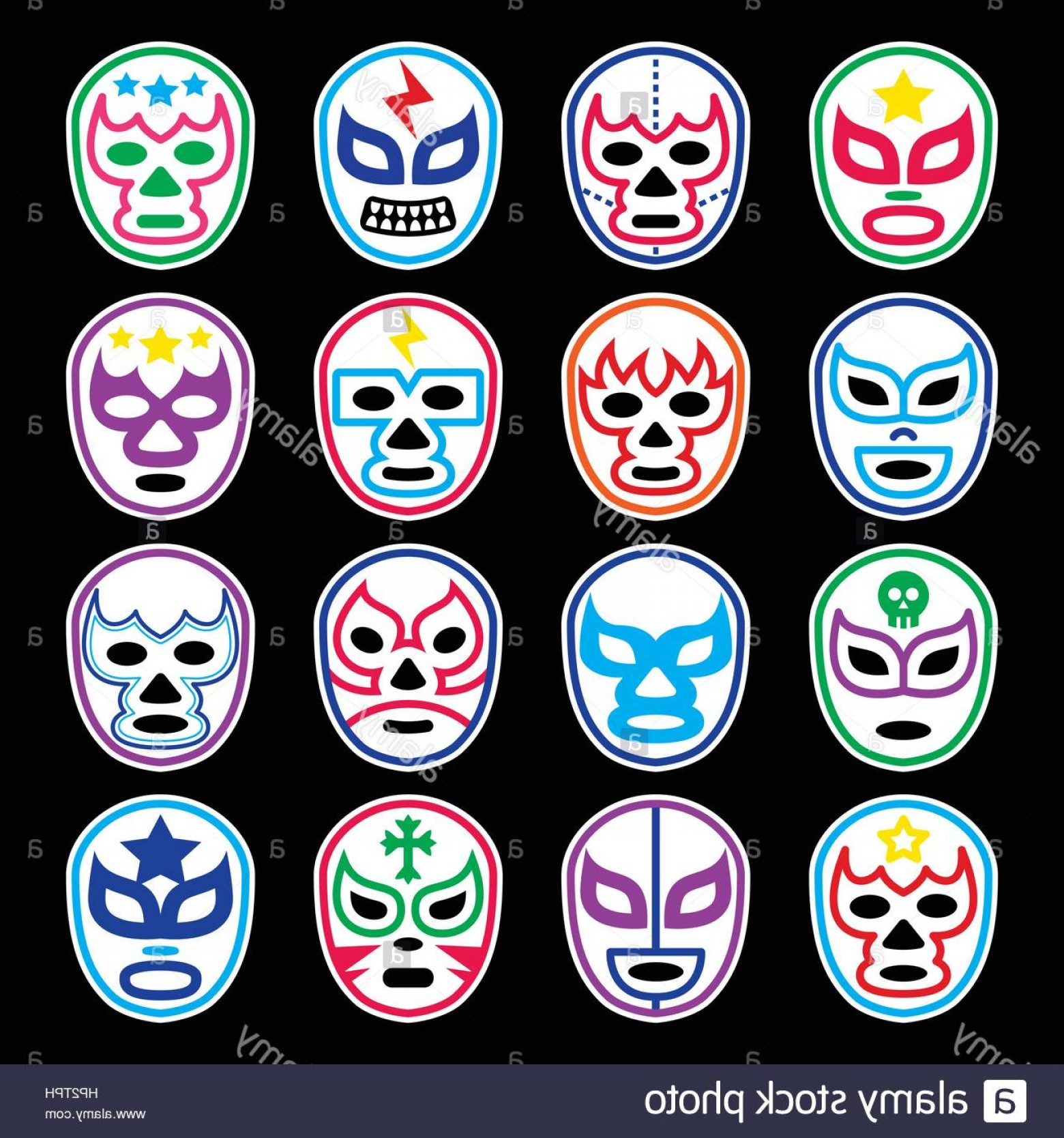 Vector Wrestling Audience: Stock Photo Lucha Libre Mexican Wrestling Masks Icons On Black Vector Icons Set