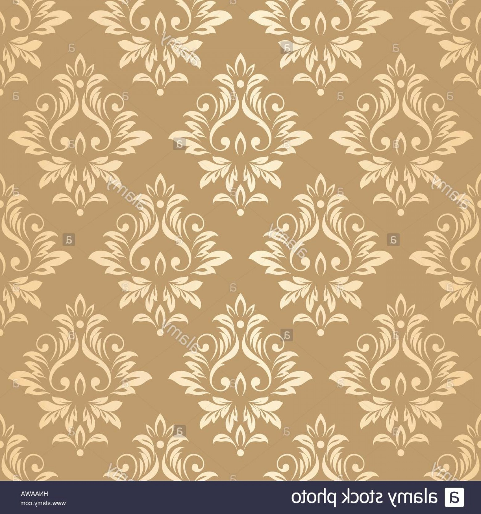 Damask Background Vector Art: Stock Photo Luxury Golden Wallpaper Vintage Seamless Damask Pattern Vector Background