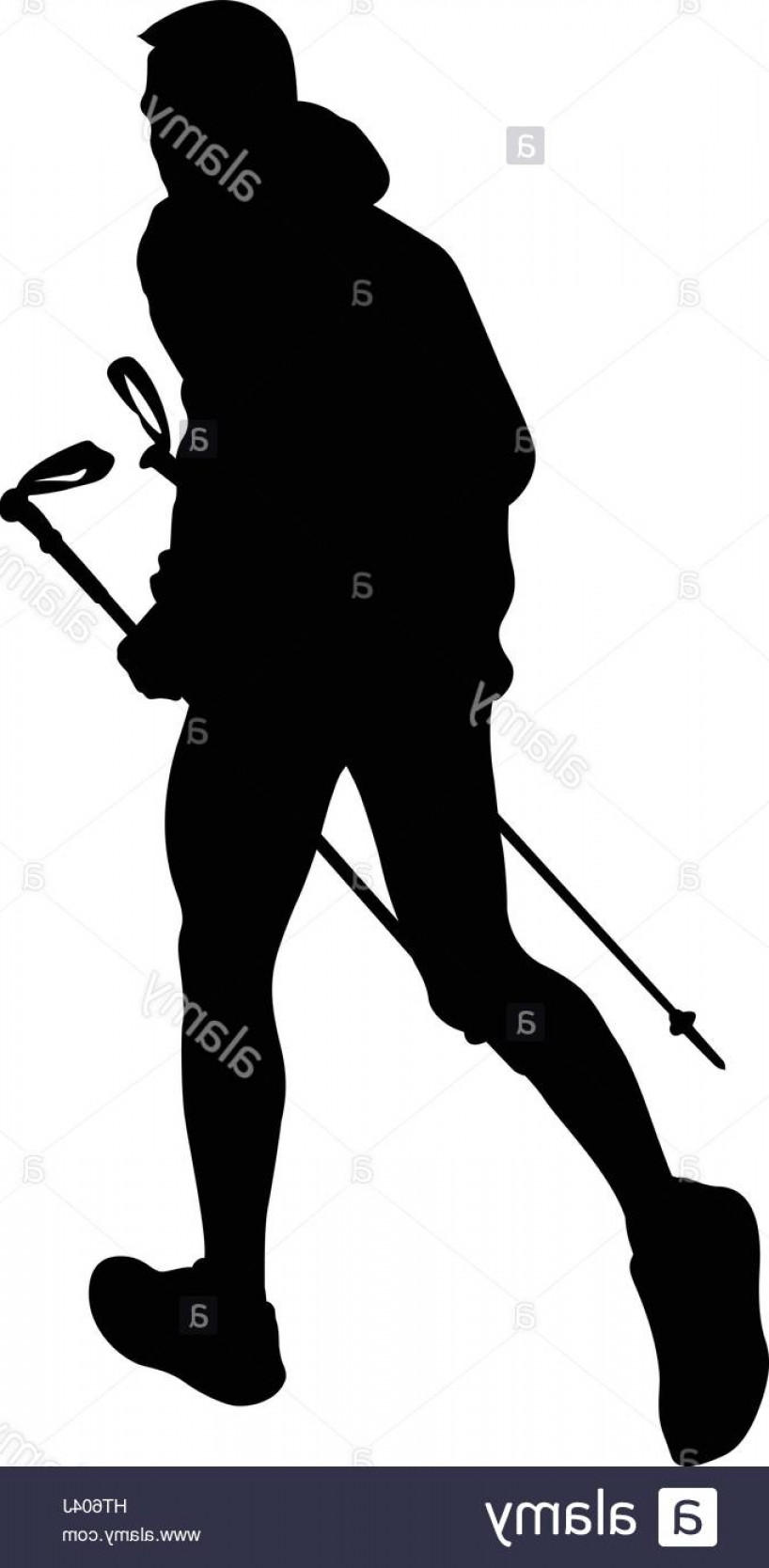 Mountain Trail Vector: Stock Photo Male Runner With Trekking Poles Running Mountain Trail Black Silhouette