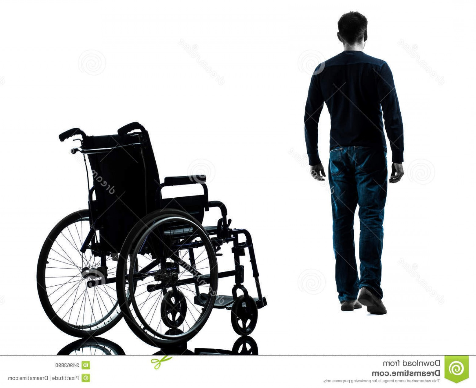 Walking Away Vector: Stock Photo Man Walking Away Wheelchair Silhouette One Studio White Background Image