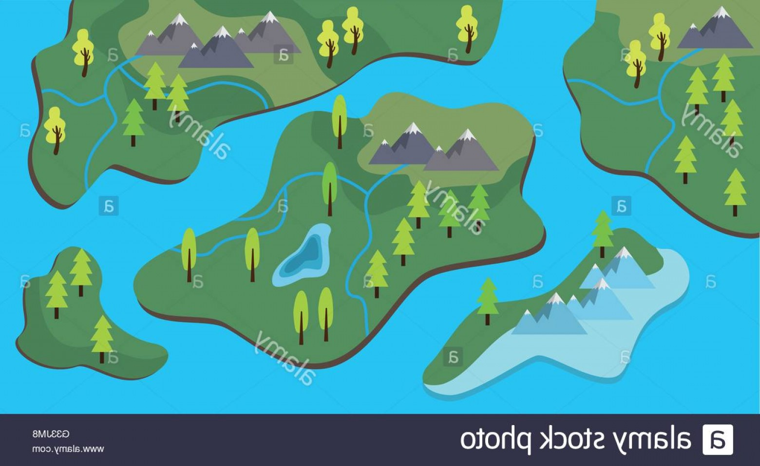 River Vector Art: Stock Photo Map Cartoon Flat Style With Land And Sea River Vector Graphic