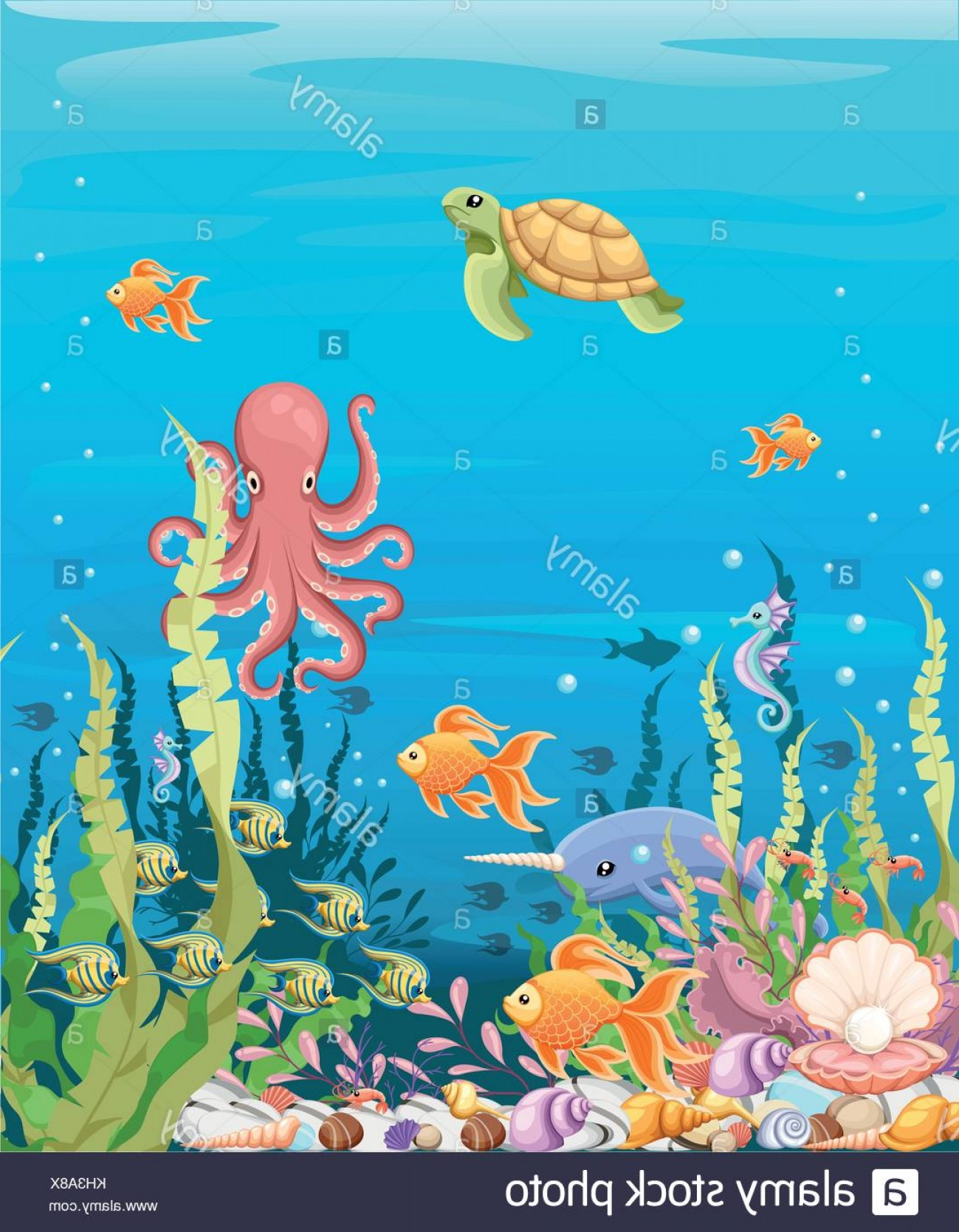 Underwater Sea Vector Art: Stock Photo Marine Life Landscape The Ocean And Underwater World With Different