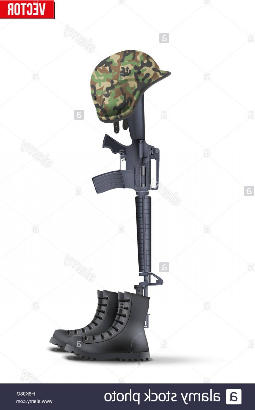 Vector Rifle And Boots: Stock Photo Memorial Battlefield Cross The Symbol Of A Fallen Us Soldier Modern