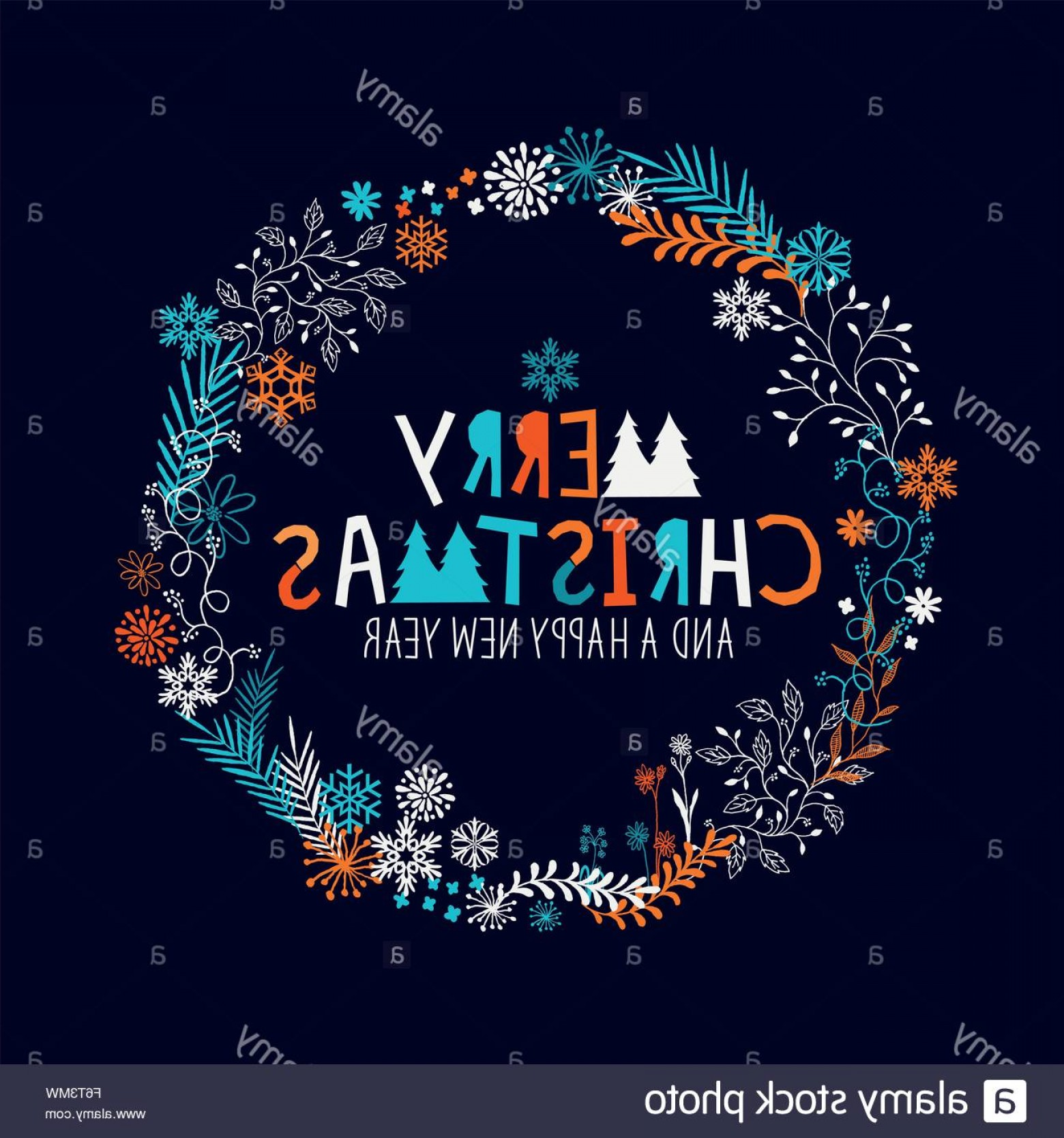 Vector Snowflake Wreath: Stock Photo Merry Christmas Wreath With Snowflakes And Floral Patterns Vector