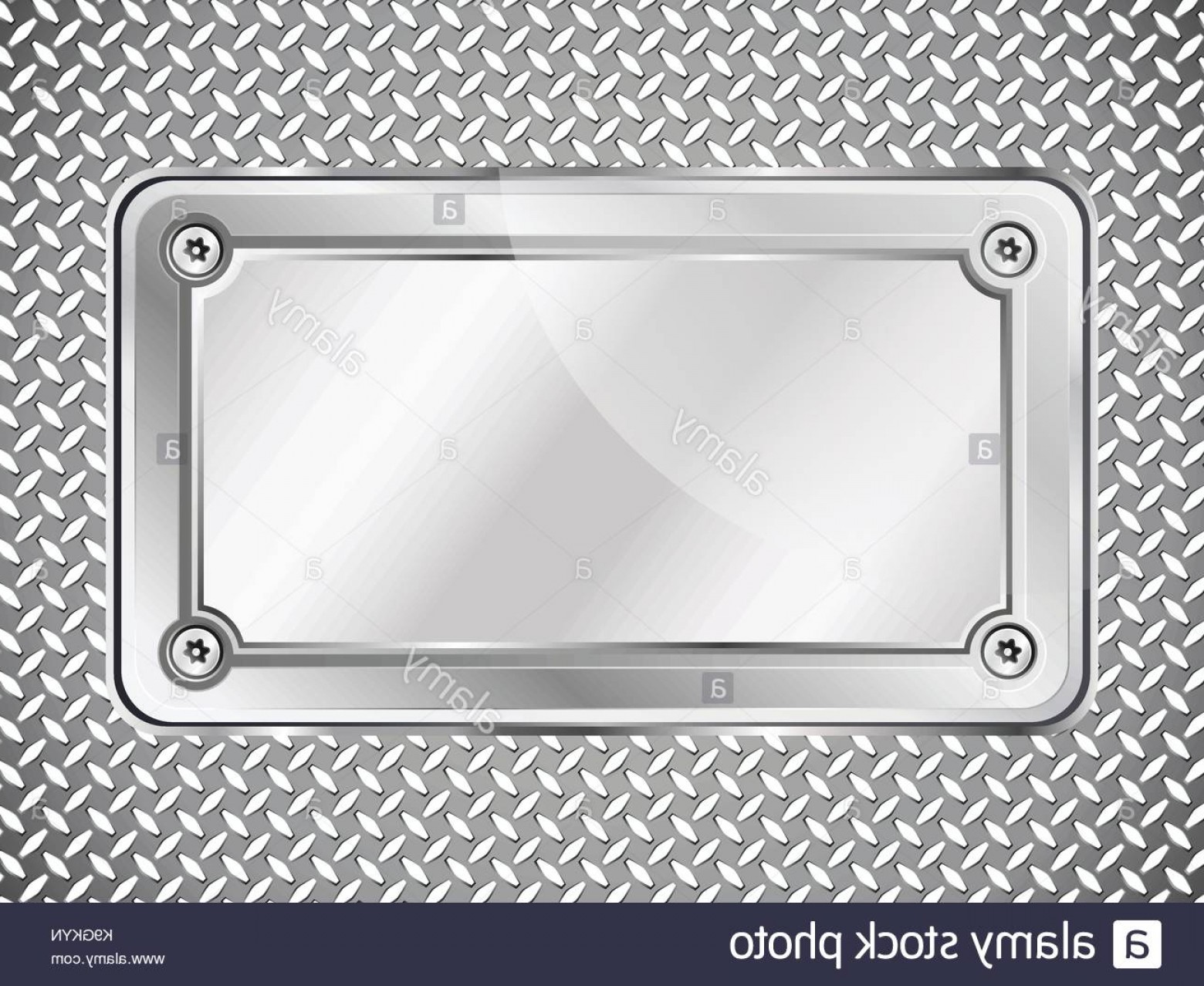 Nameplate Vector Graphics: Stock Photo Metal Texture Abstract Background Steel Nameplate With Screws Vector