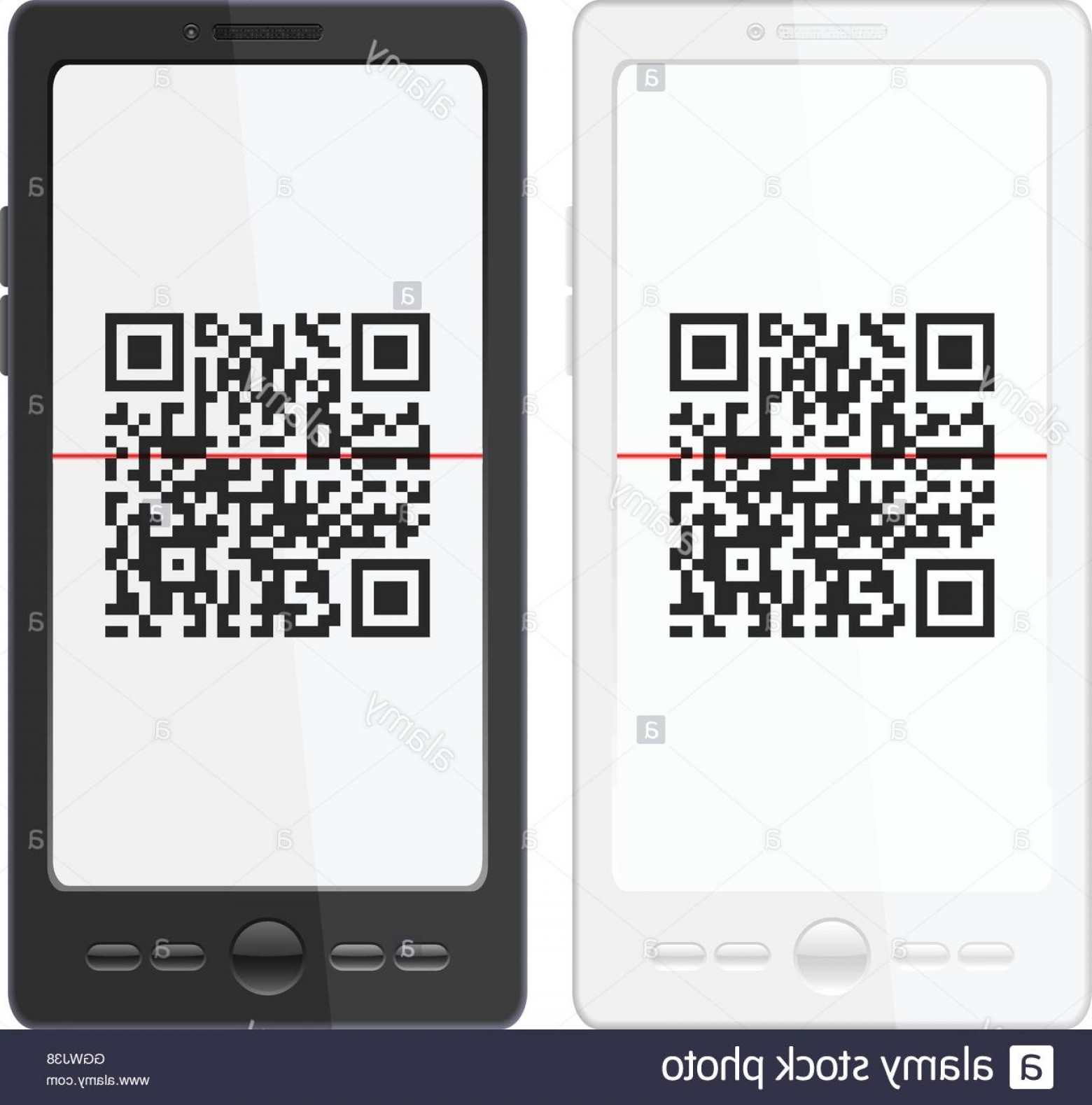 QR Mobile Phone Vector: Stock Photo Mobile Phone With Qr Code Scanner On A White Background