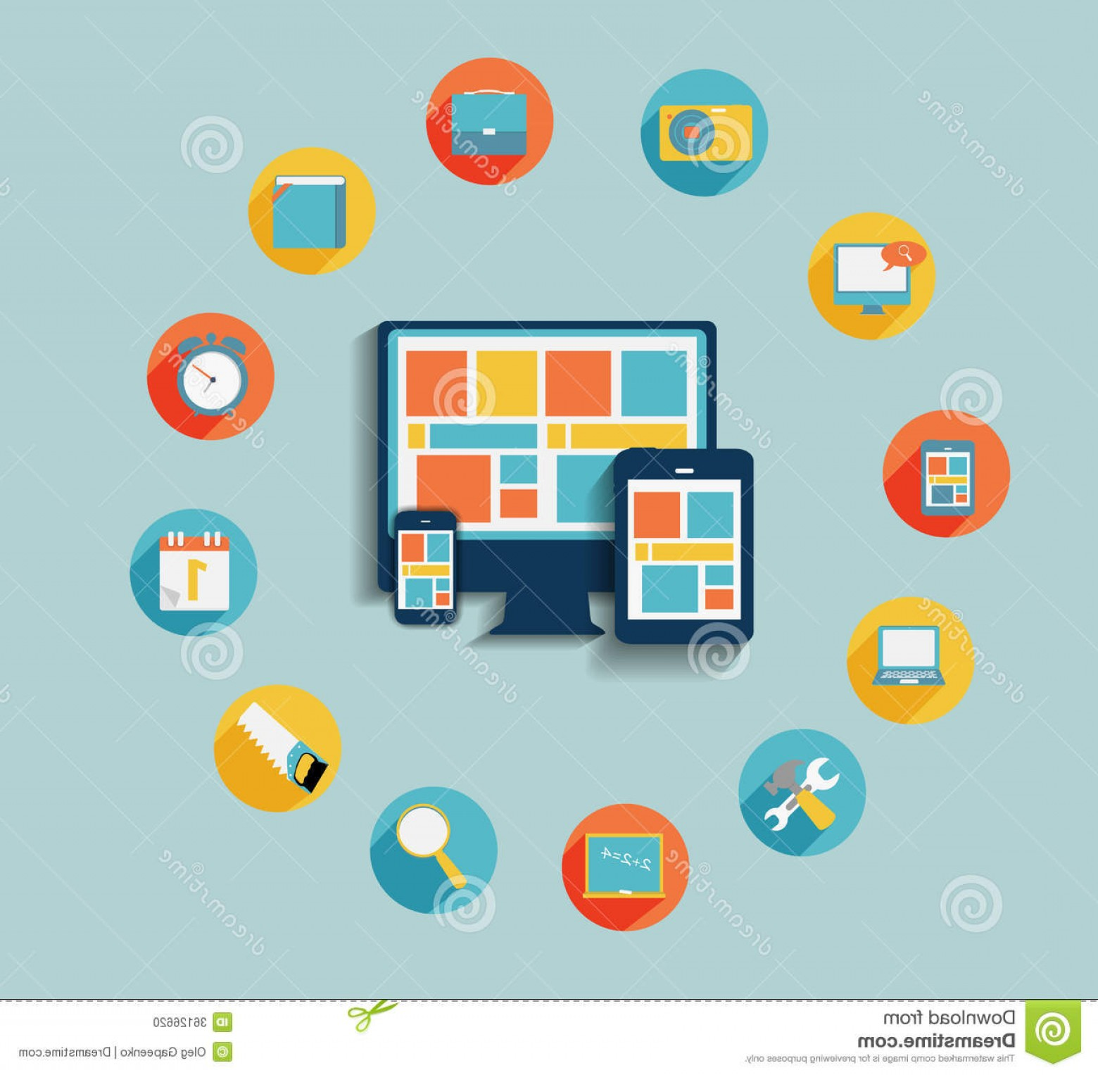 Computer Vector Icon Flat: Stock Photo Modern Flat Icon Set Web Mobile Application Computer Connected Devices Stylish Colors Vector Image
