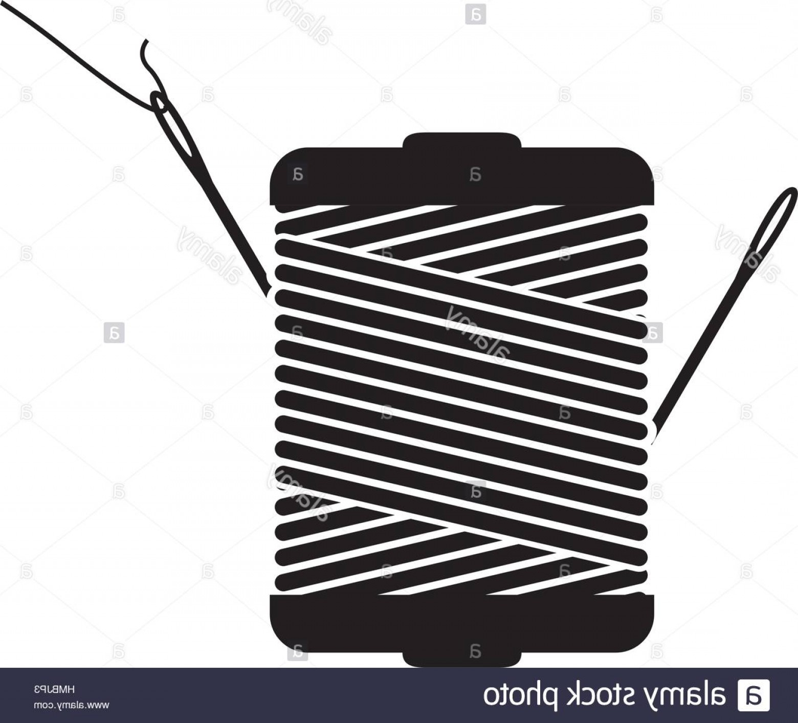 Sewing Spool Vector: Stock Photo Monochrome Silhouette With Thread Spool And Sewing Needle Vector Illustration