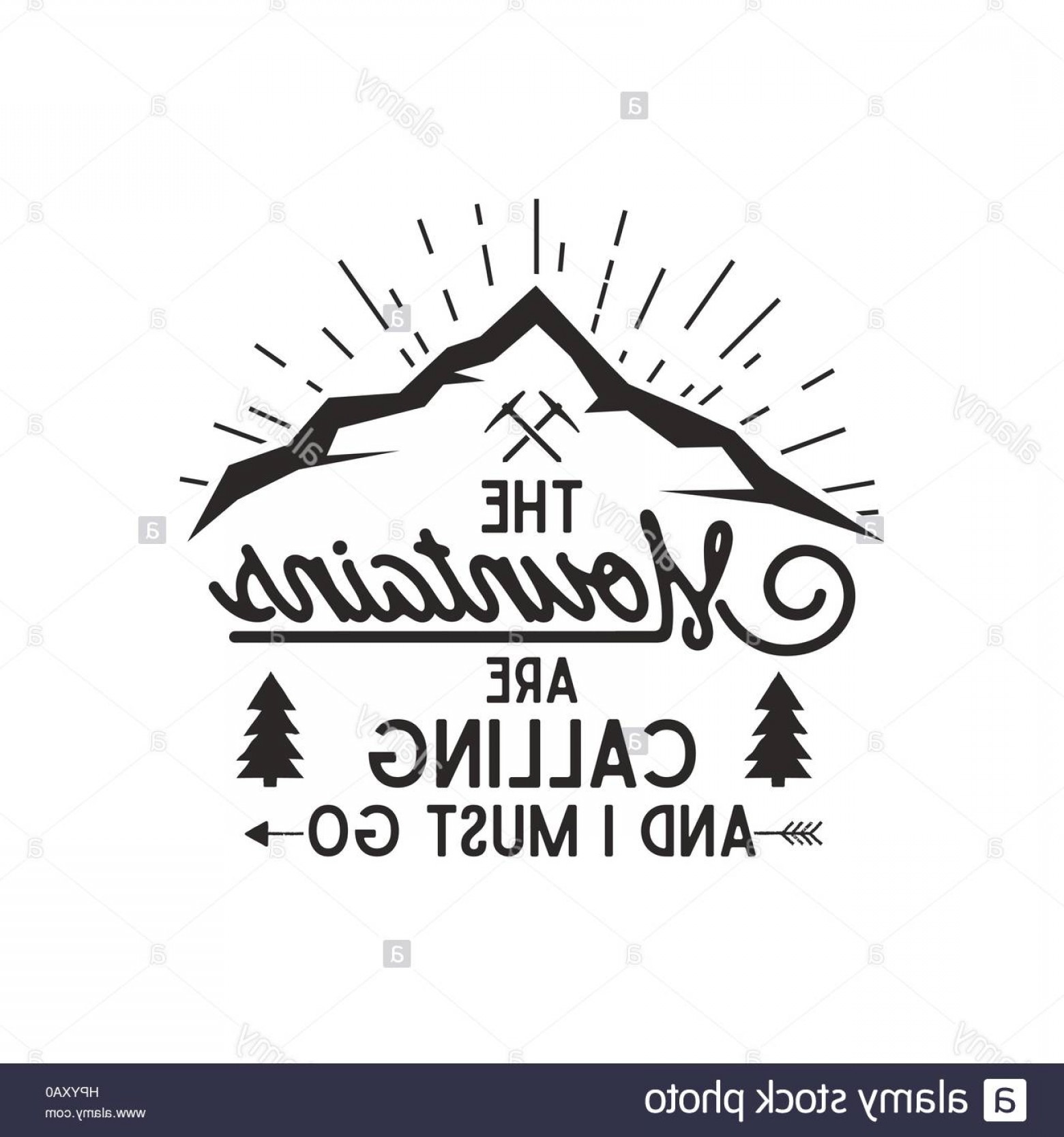 Hipster Logo Vectors Mountain: Stock Photo Mountains Are Calling Vector Poster Mountains Explorer Vintage Hand