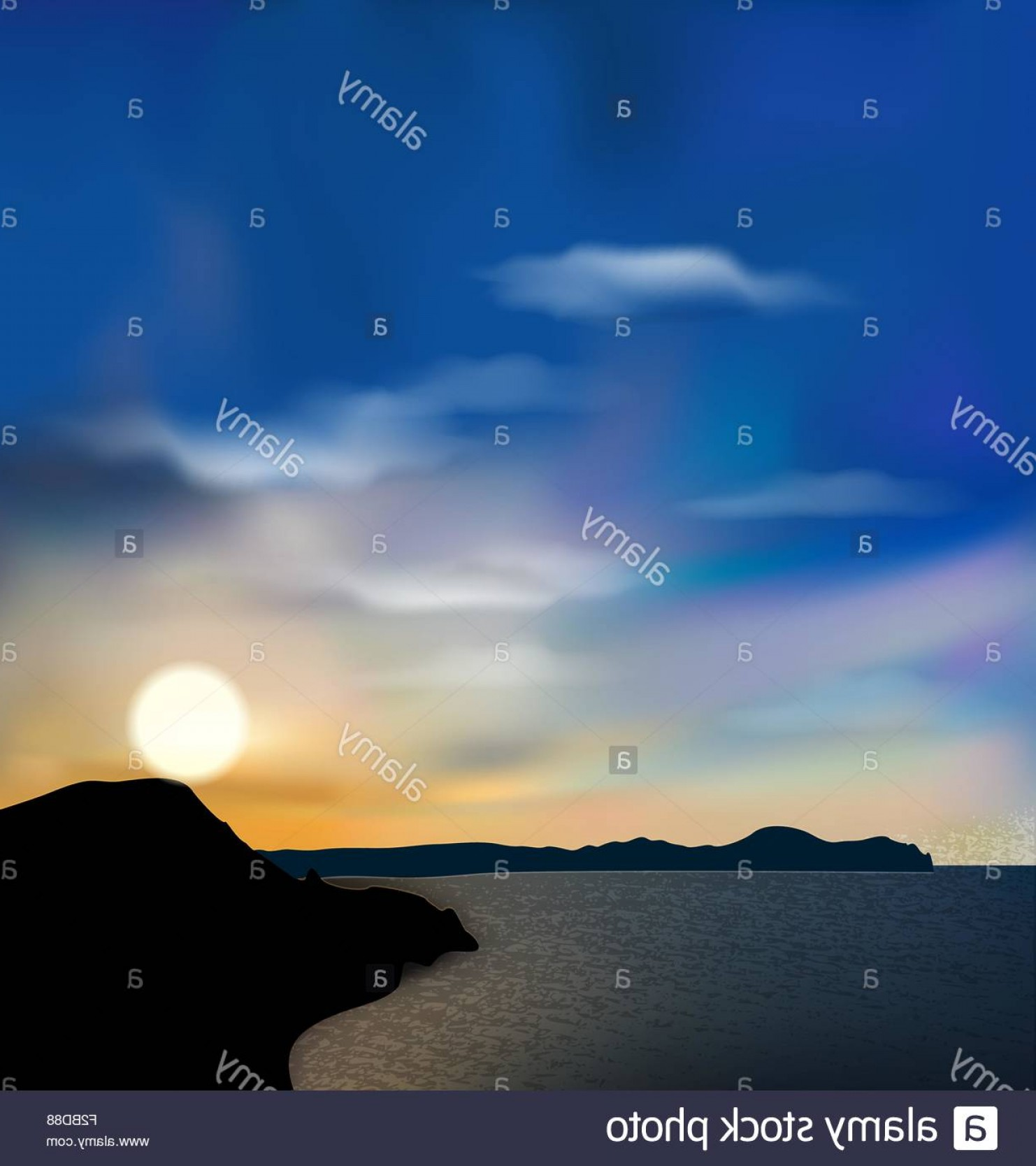 Vector Natural Background Sky: Stock Photo Nature Background Sea Mountain Sun Sky During Sunrise
