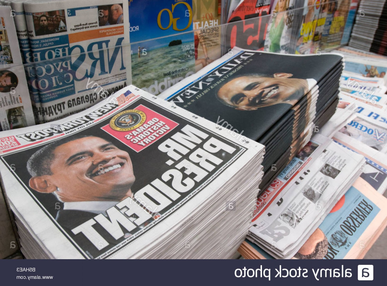 Vector Newspapers Snacks: Stock Photo Newspapers At A New York City Newsstand Announcing Barack Obamas Historic