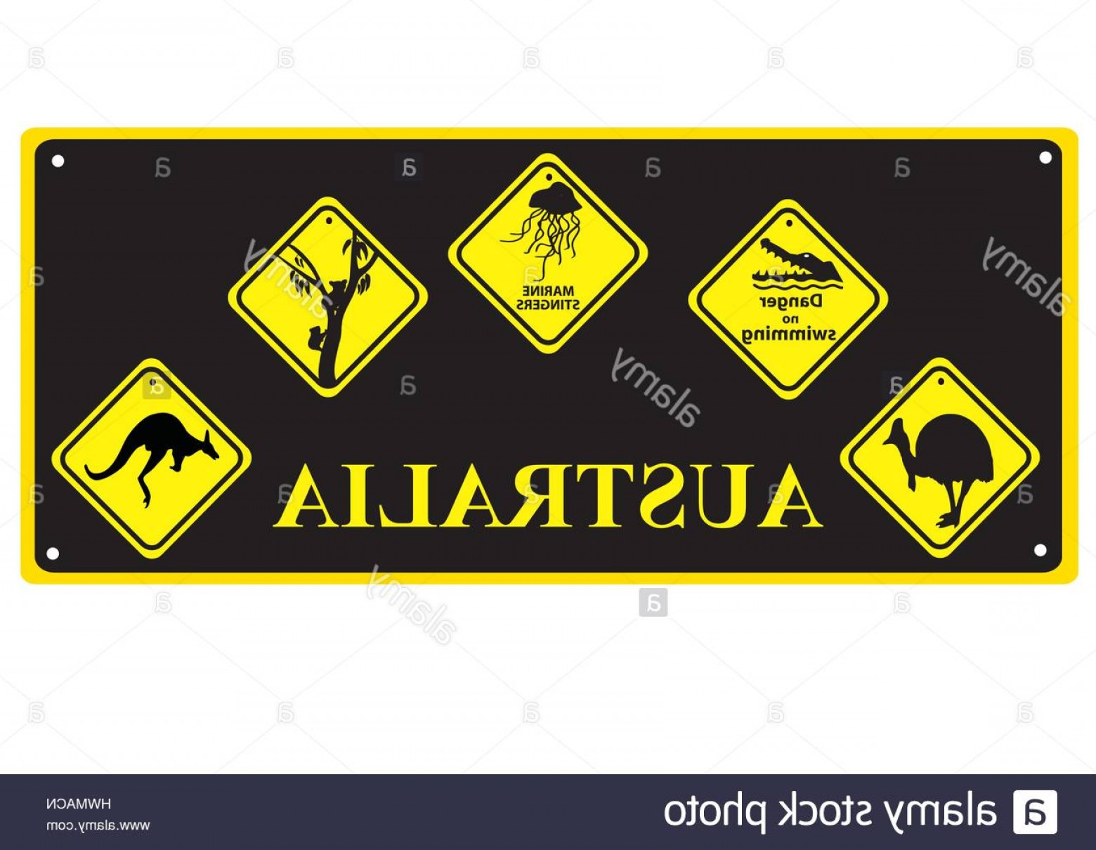 Vector No Wildlife: Stock Photo Number Plate With Australian Signs Of Wildlife