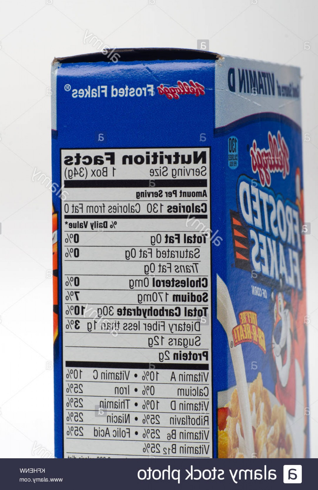 Nutrition Label Kellogg's Vector: Stock Photo Nutrition Facts Label For Kelloggs Frosted Flakes Cereal Close Up