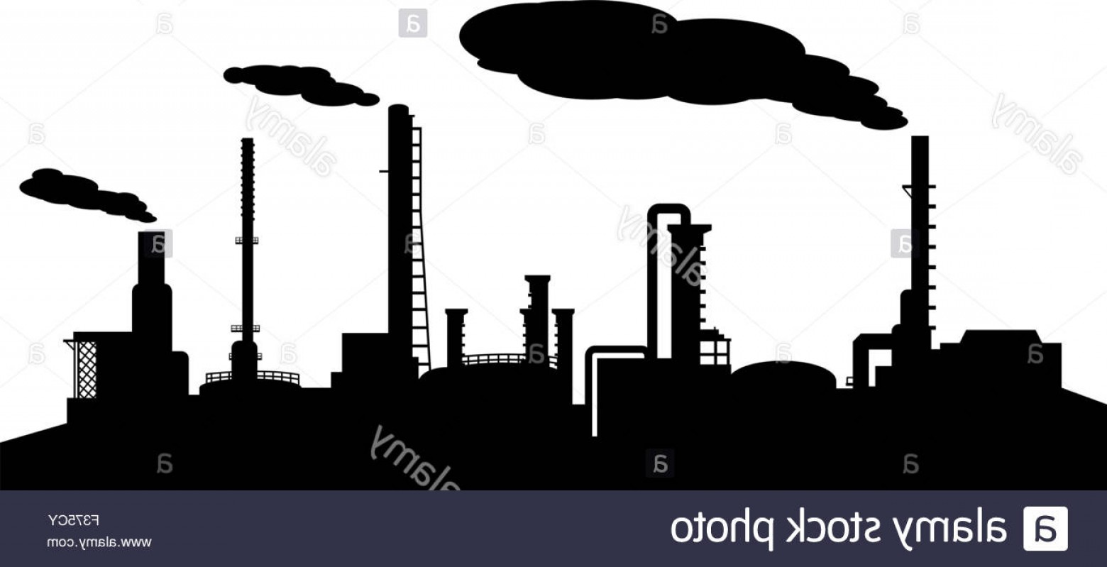Factory Vector Skyline: Stock Photo Oil Refinery Industry Silhouette Vector