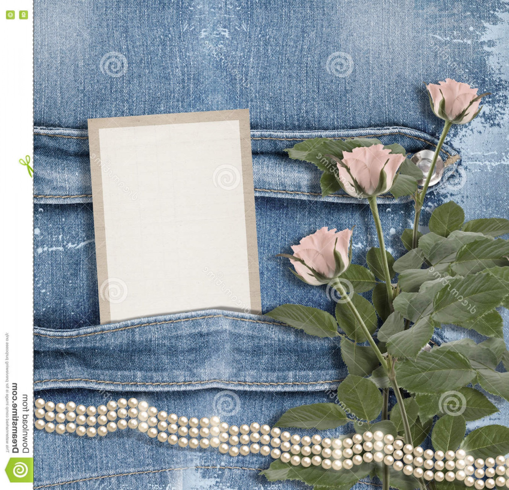 Denim And Pearls Vector: Stock Photo Old Denim Background Paper Frame Pearls Pink Roses Image