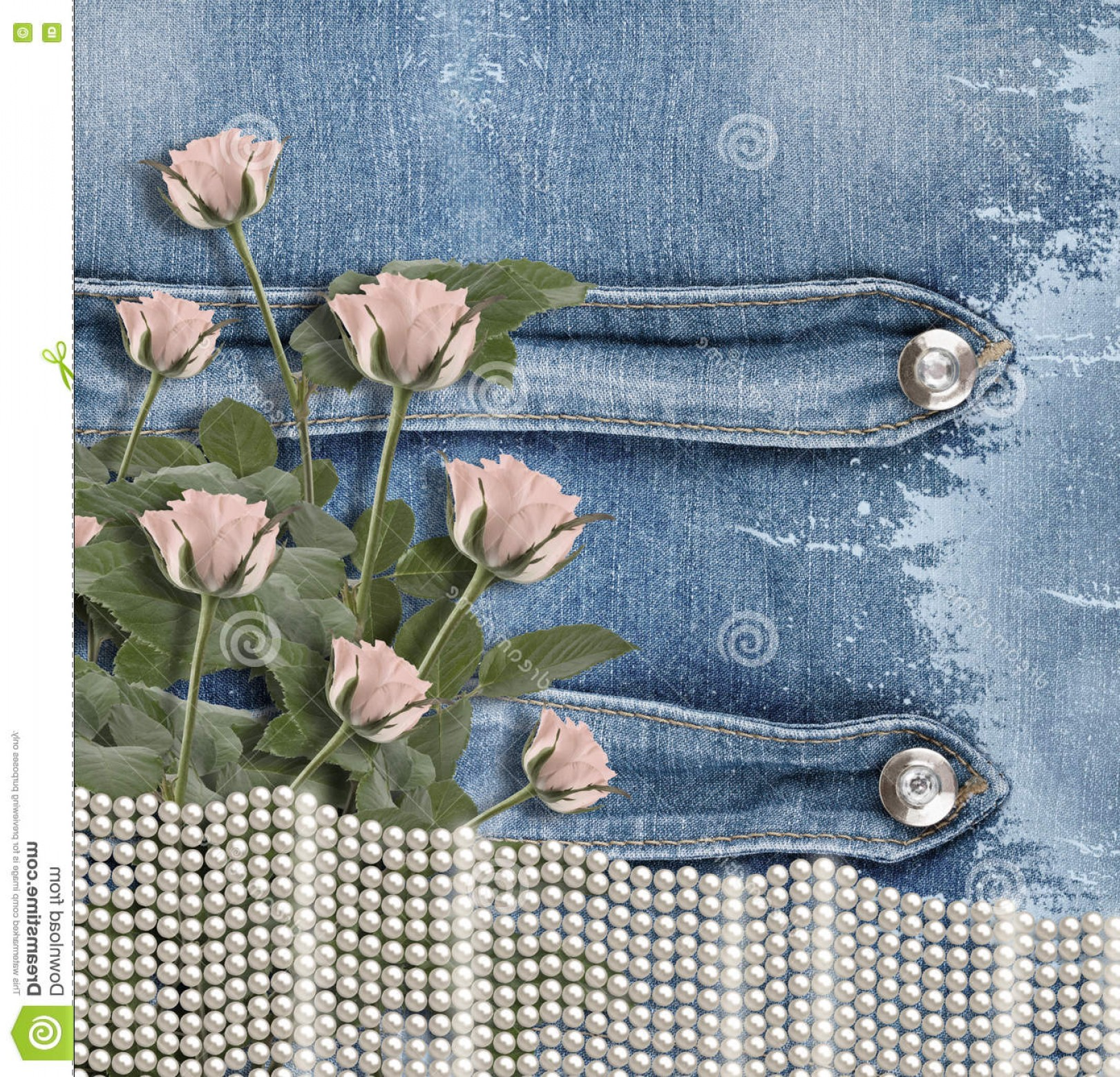 Denim And Pearls Vector: Stock Photo Old Denim Background Pearls Roses Pink Image