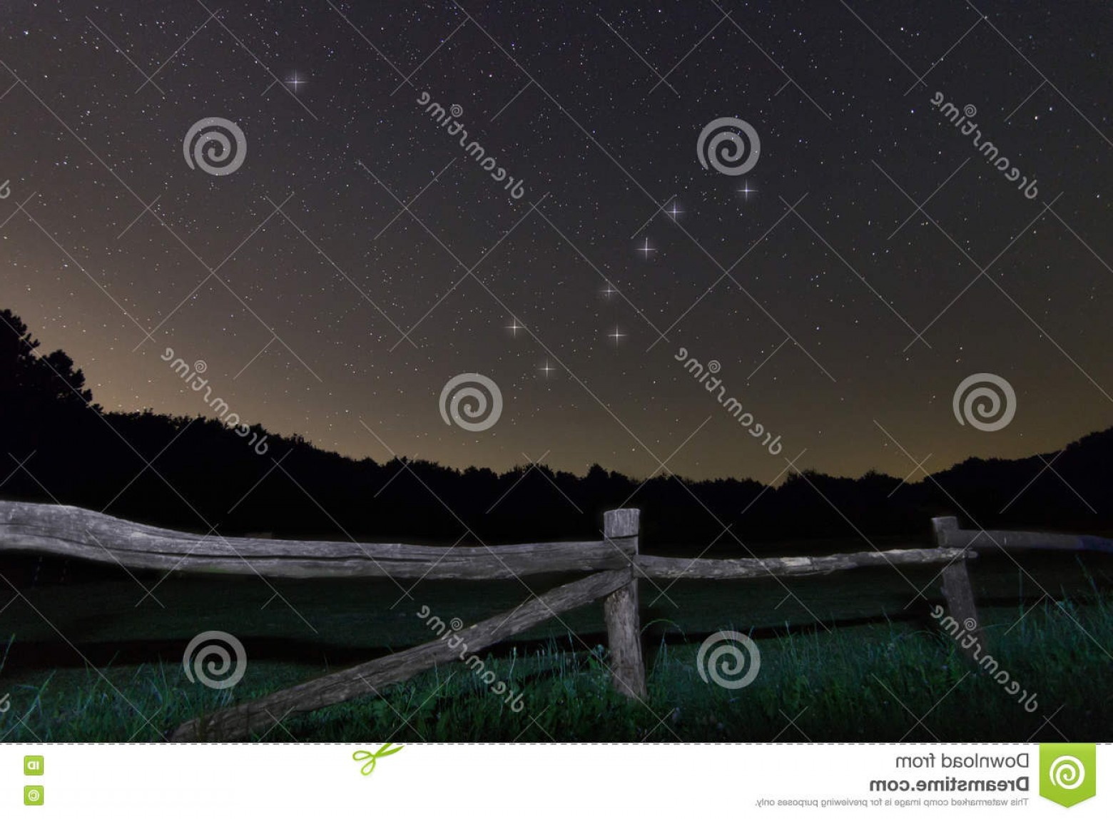 Polaris Star Logo Vector: Stock Photo Old Fence Starry Night Polaris Star Ursa Major Big Dipper Constellation Beautiful Night Sky Clear Concept Background Image