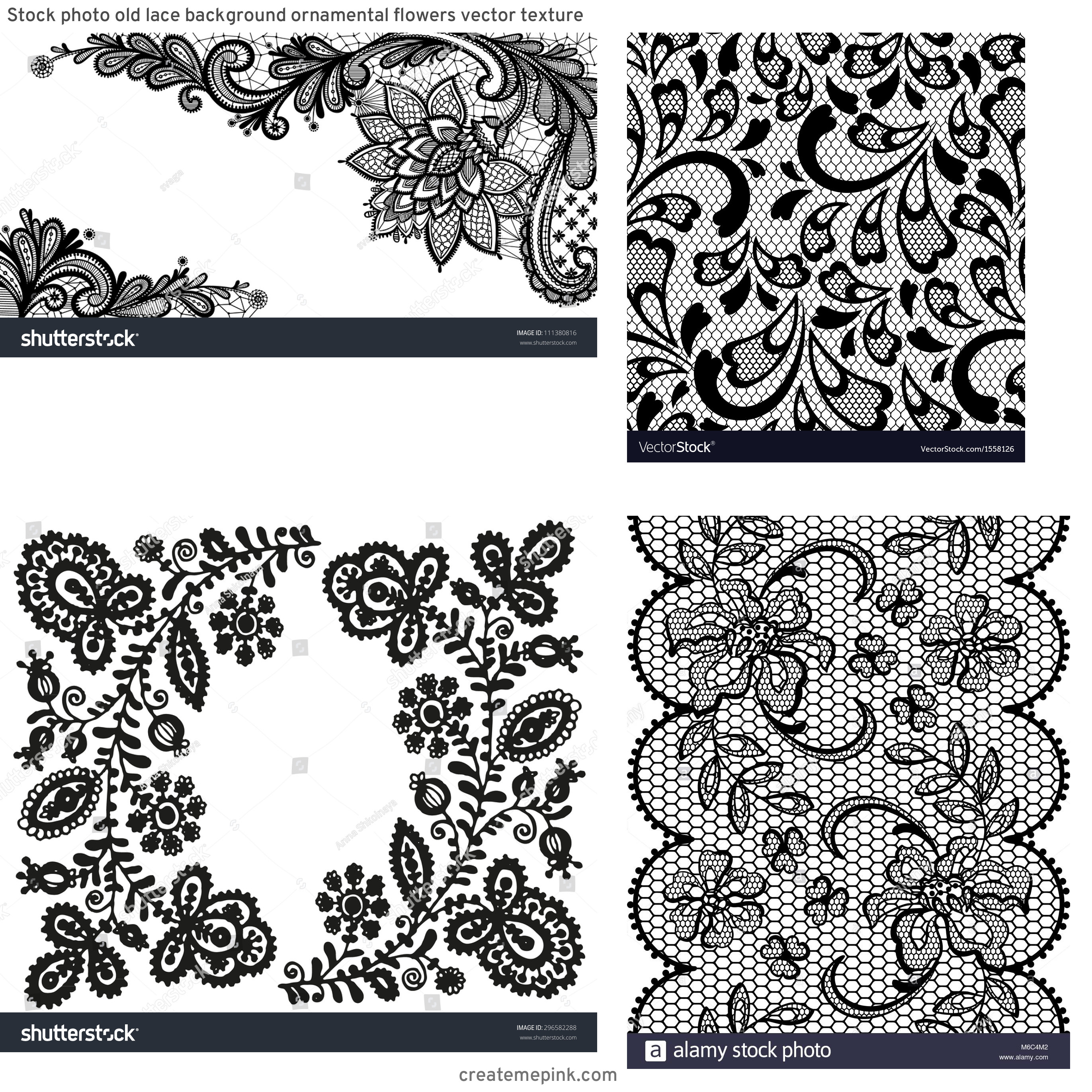 Vector Old Lace Black: Stock Photo Old Lace Background Ornamental Flowers Vector Texture
