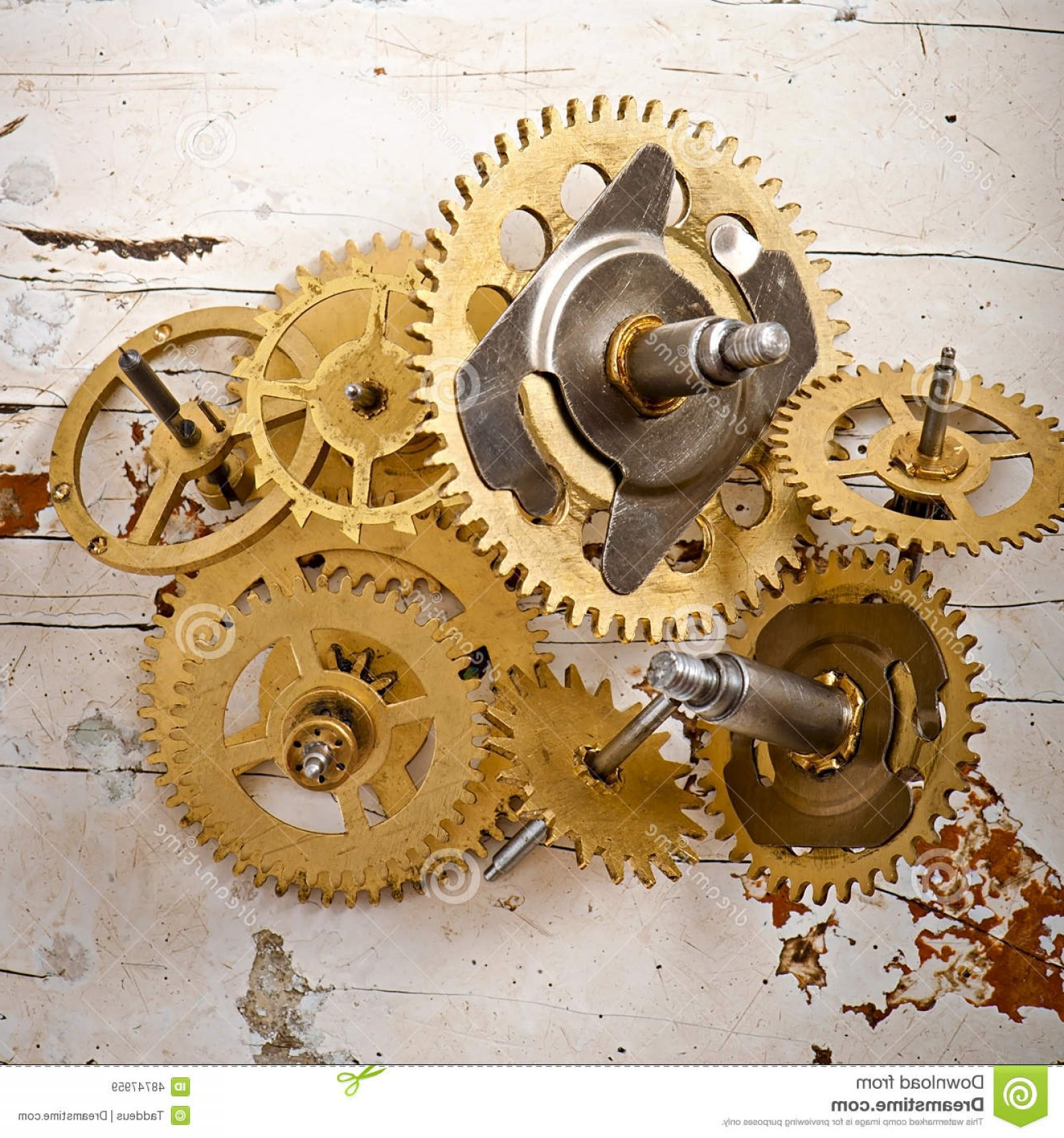 Vector Mechanical Clock Wheels: Stock Photo Old Mechanical Clock Gears Wooden Table Image