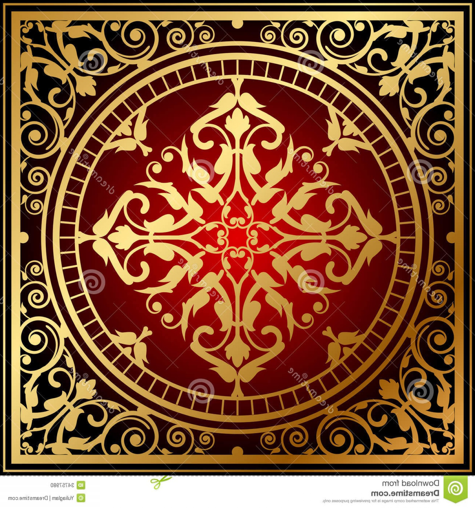 Carpet Vector 2D: Stock Photo Oriental Red Gold Rug Vector Illustration Image