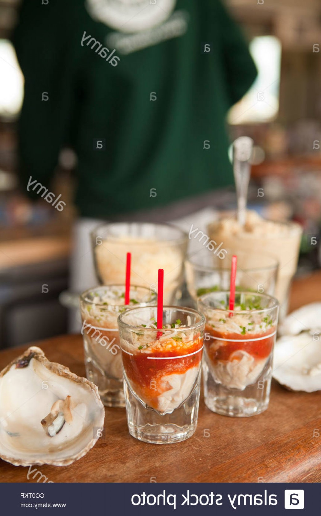 Vector Oyster Shooter: Stock Photo Oyster Shooters Brophy Bros Restaurant Santa Barbara California United