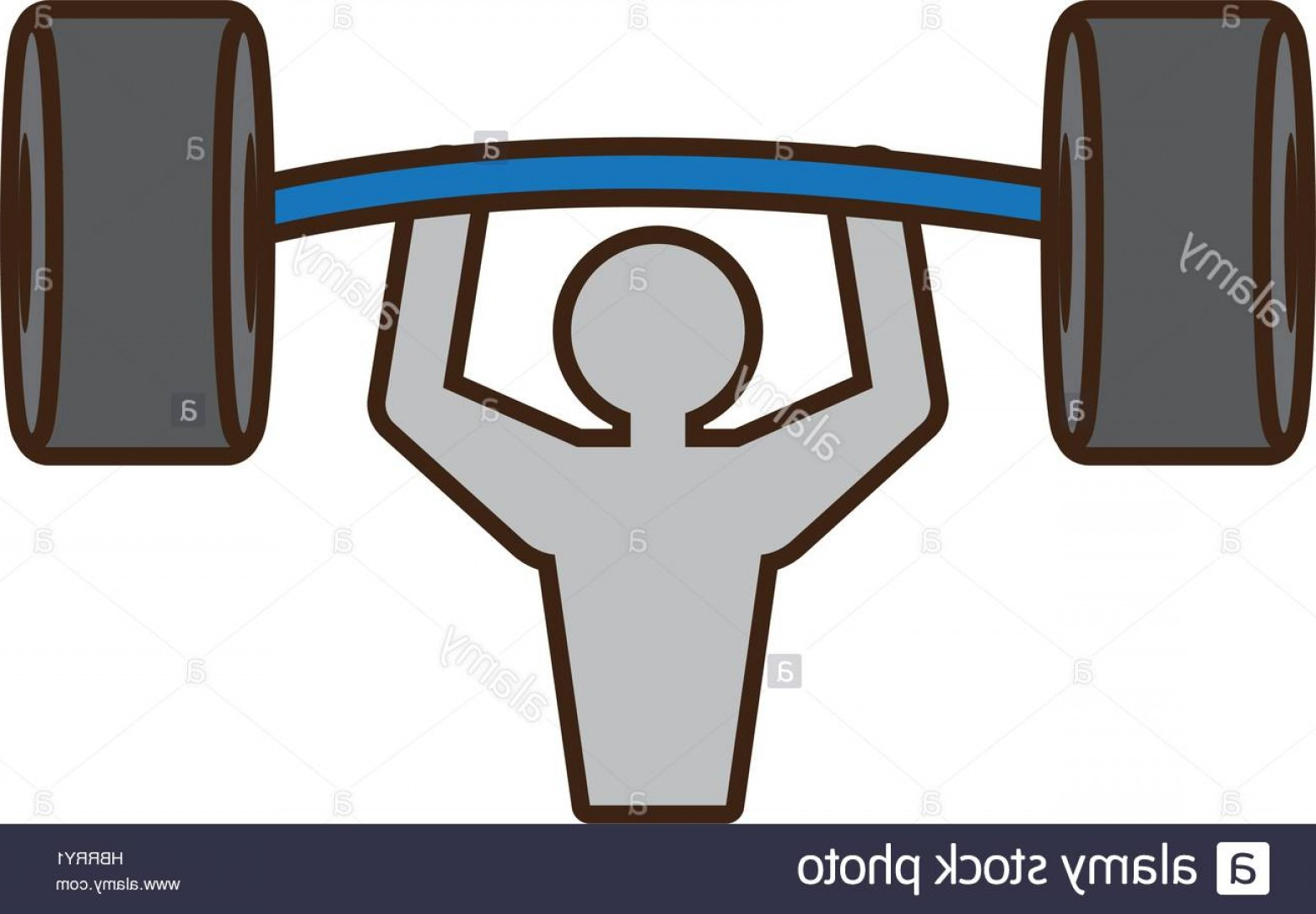 Bumper Barbell Vector: Stock Photo Pictogram Man Barbell Weight Hard
