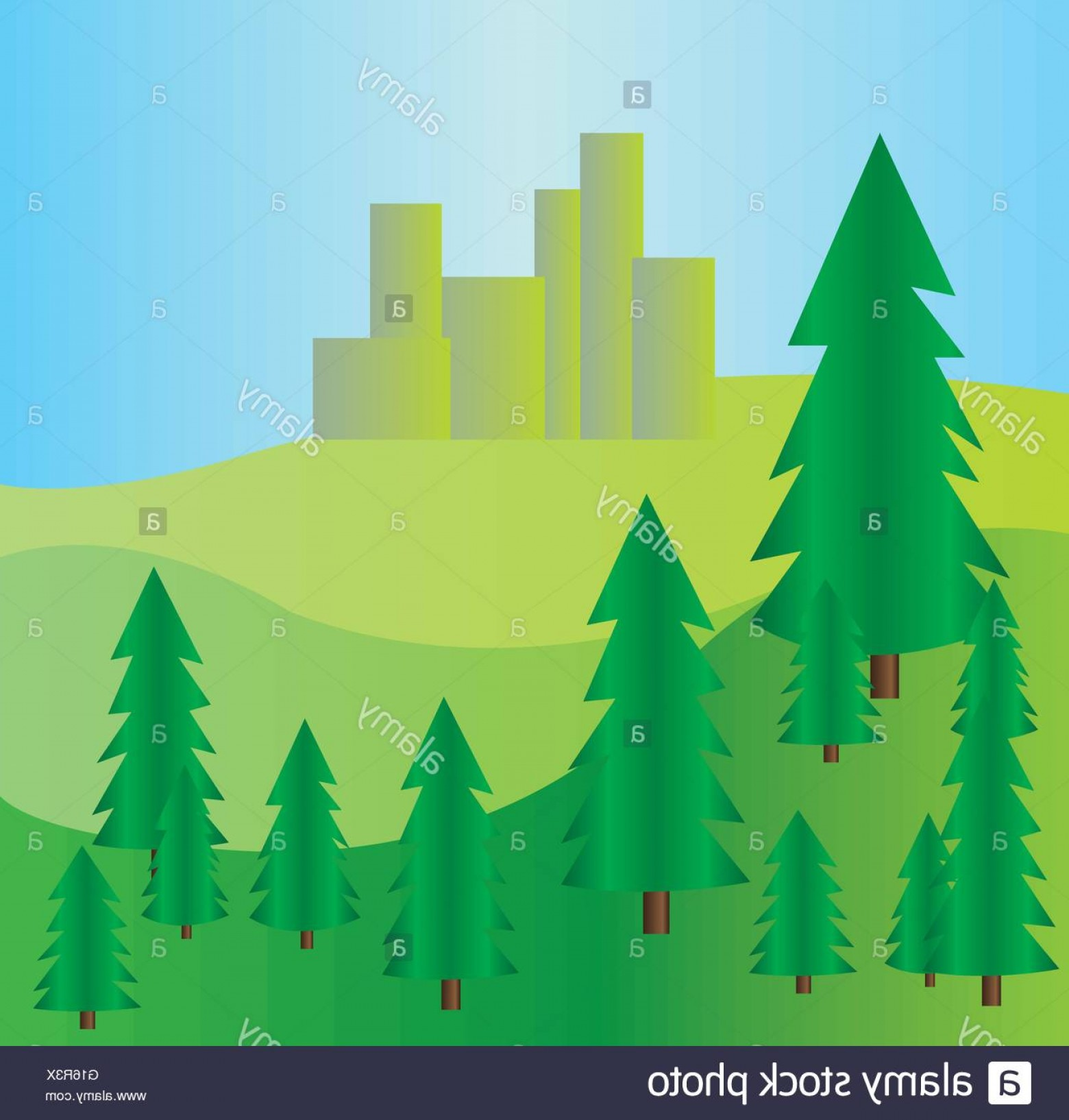 Vector Art Mountains Trees Colorado: Stock Photo Pine Trees At Mountains Landscape With Blue Skies Digital Background