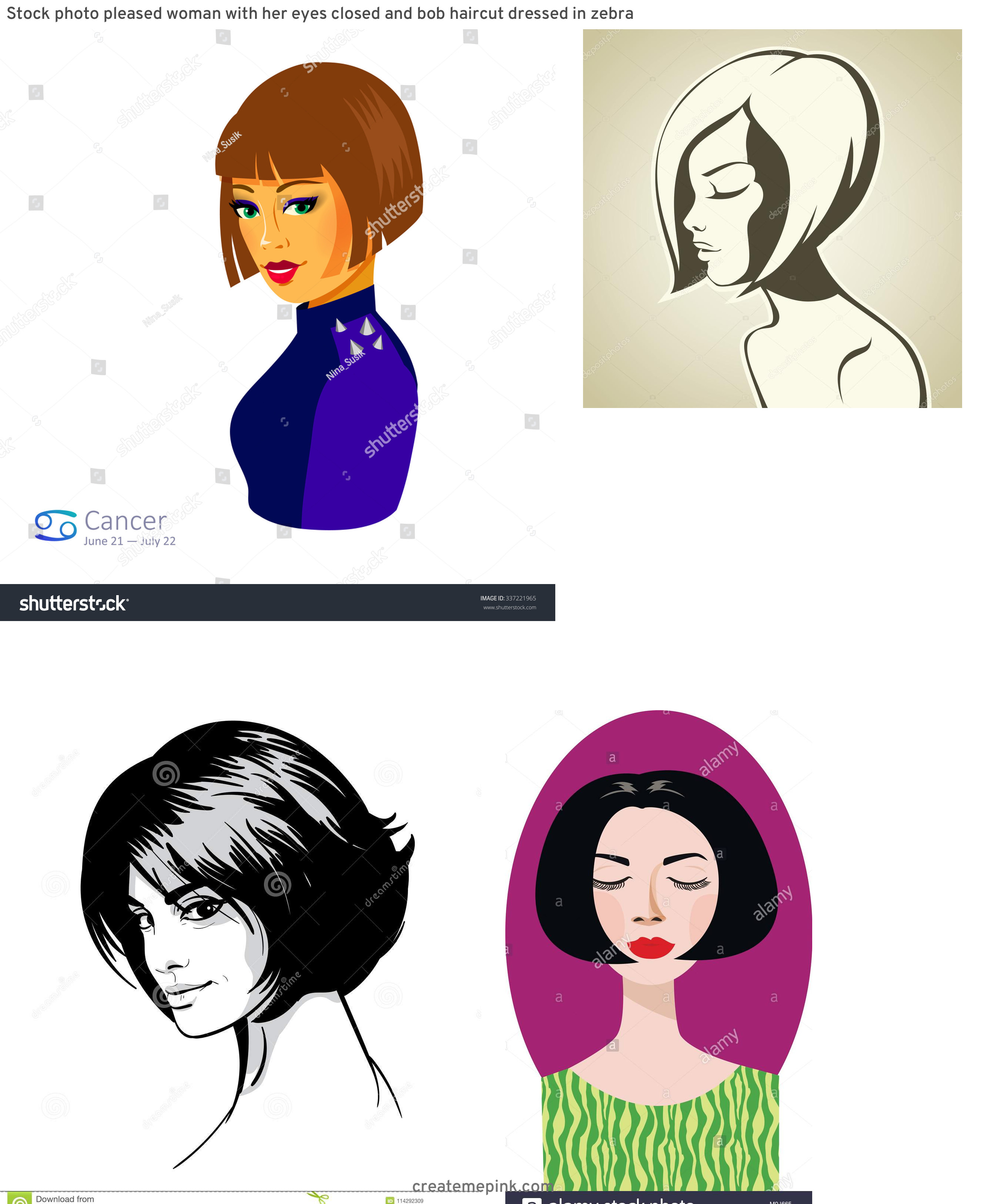 Vector Bob Haircut: Stock Photo Pleased Woman With Her Eyes Closed And Bob Haircut Dressed In Zebra