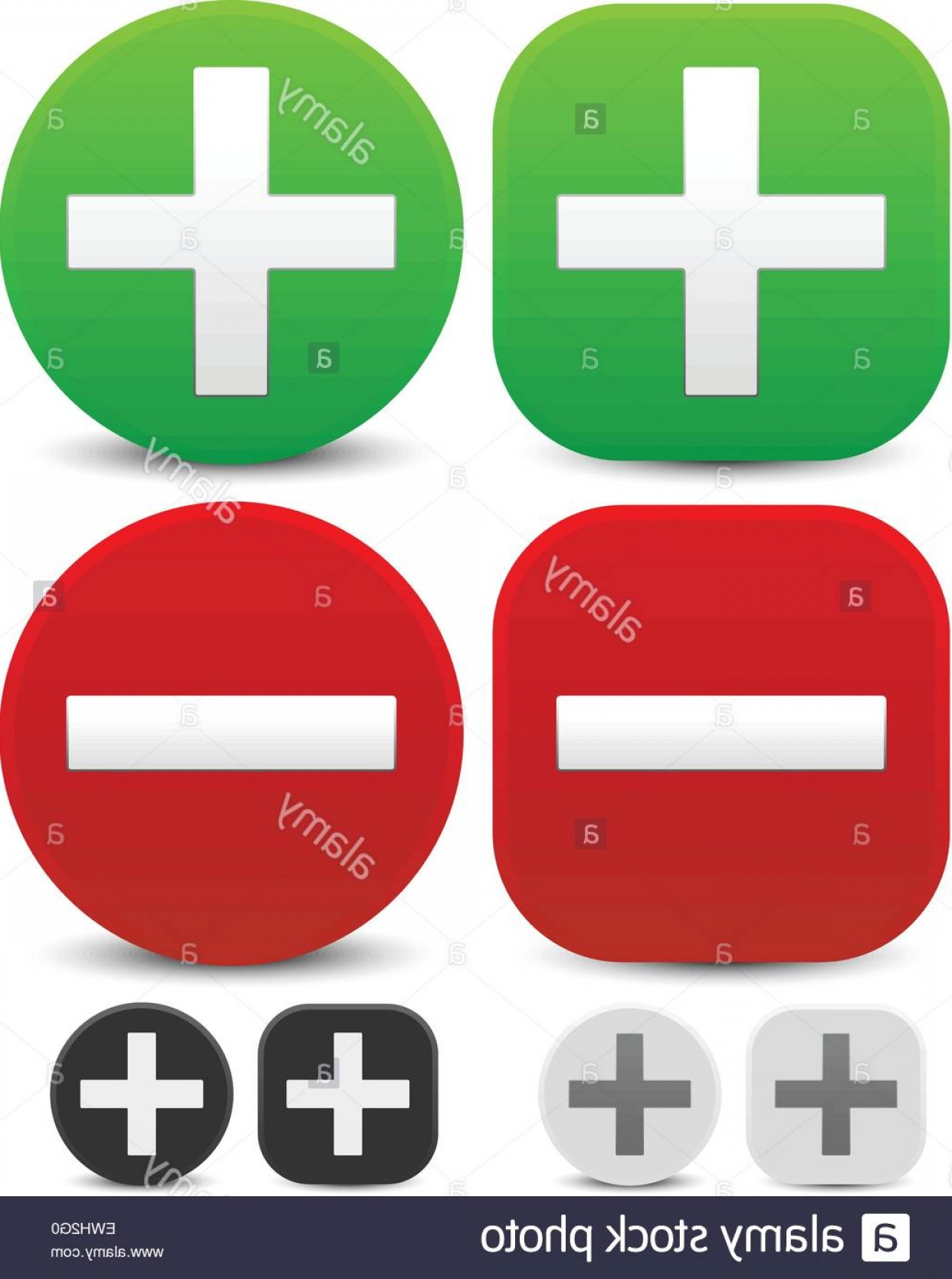 Adding And Subtracting Vectors Formula: Stock Photo Plus Minus Signs Addition Subtraction Positive Negative Icons