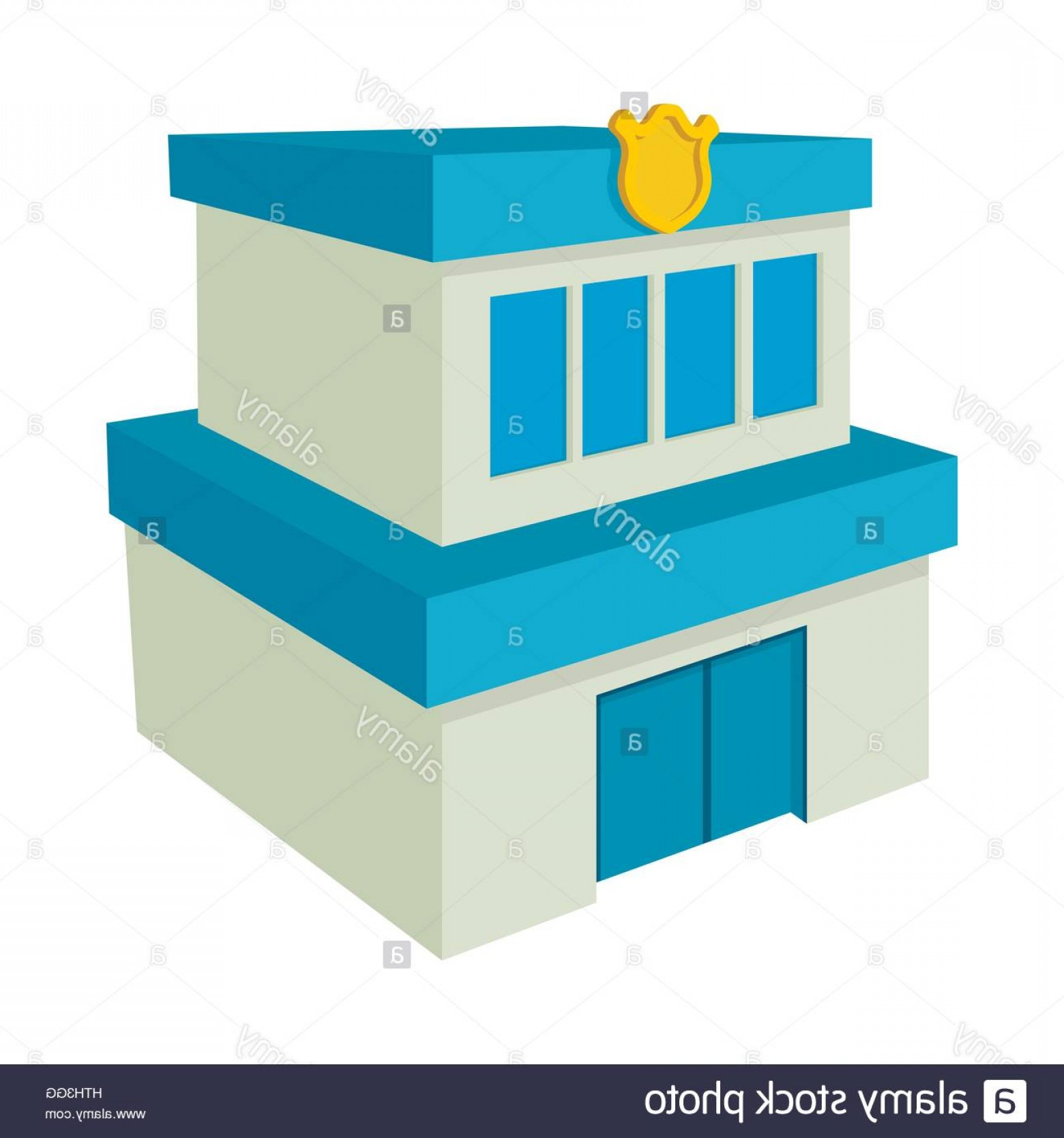 Vector Police Department: Stock Photo Police Department Building Icon Cartoon Style