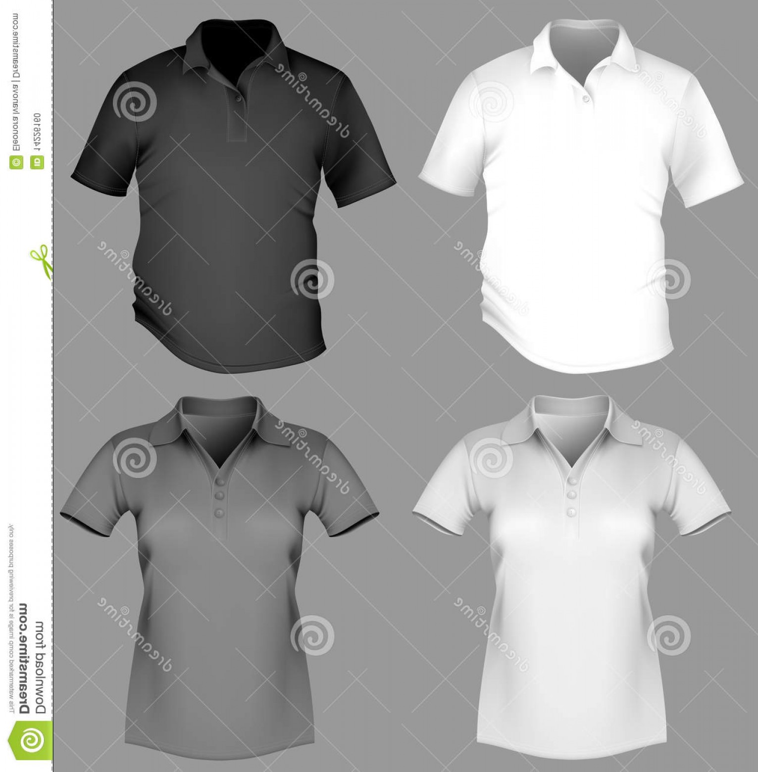 Female Polo Shirt Vector Template: Stock Photo Polo Shirt Design Template Men Women Image
