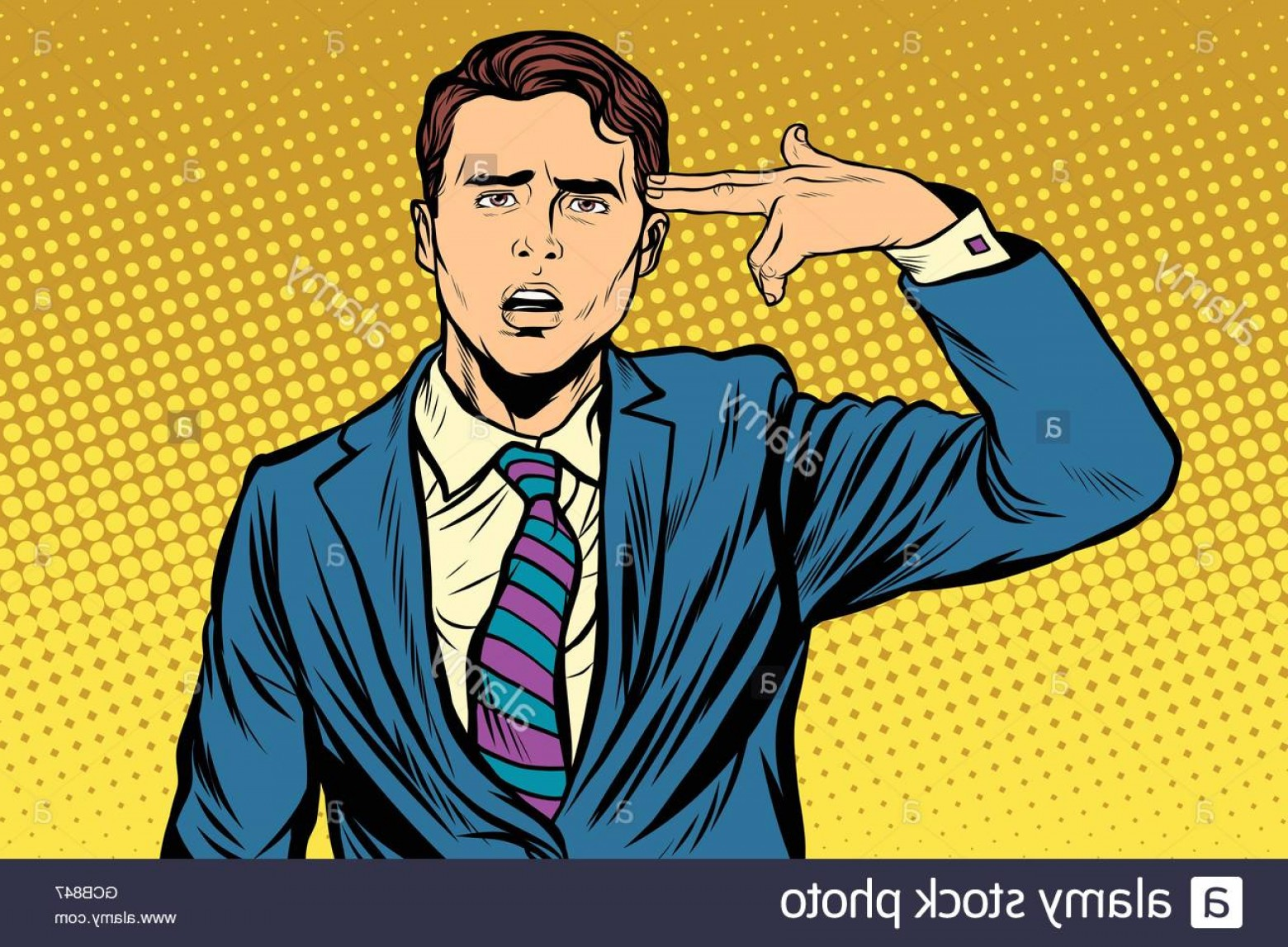 Finger Gun To Head Vector: Stock Photo Portrait Of Man Making Gun Gesture To The Head