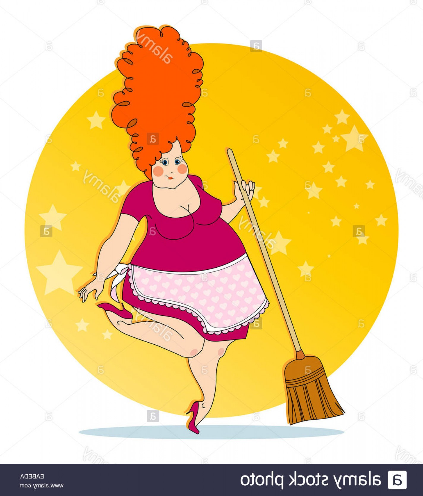 Apron Vector: Stock Photo Positive Housewife With A Broom In An Apron Vector Illustration