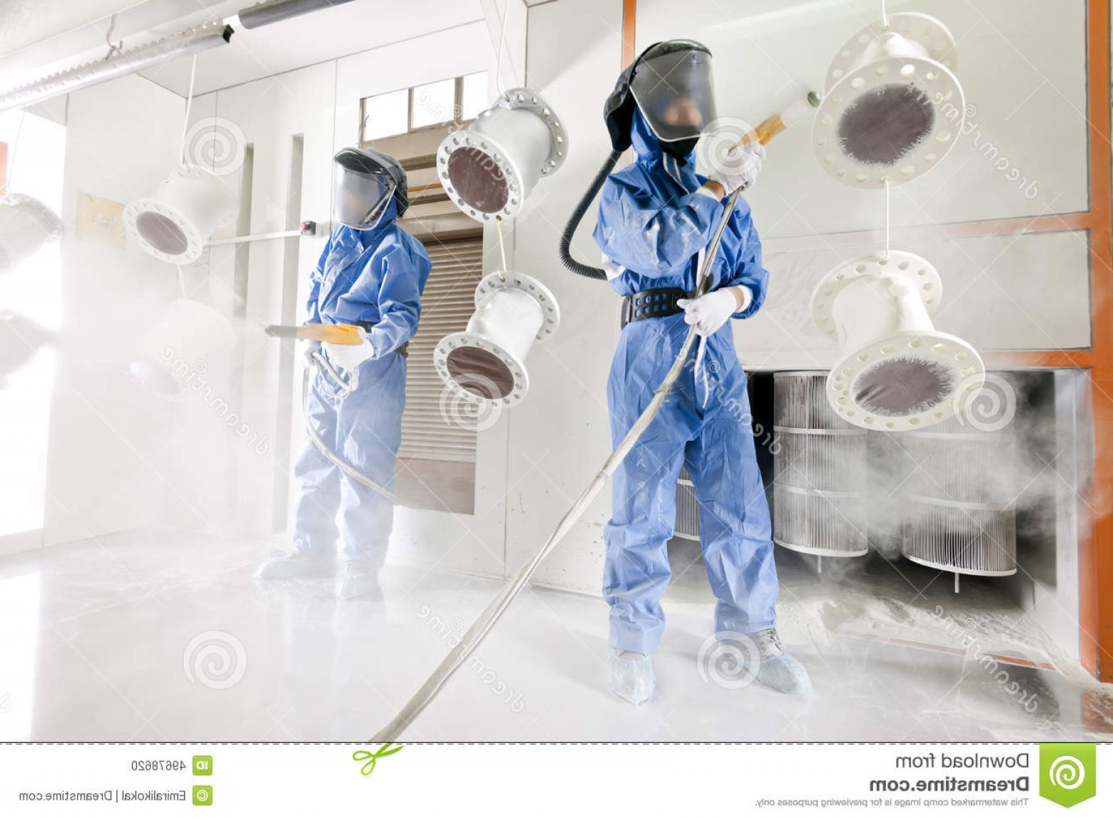 Powder Coating Vector Art: Stock Photo Powder Coating Special Camera Worker Wearing Protective Wear Performing Metal Details Industrial Image
