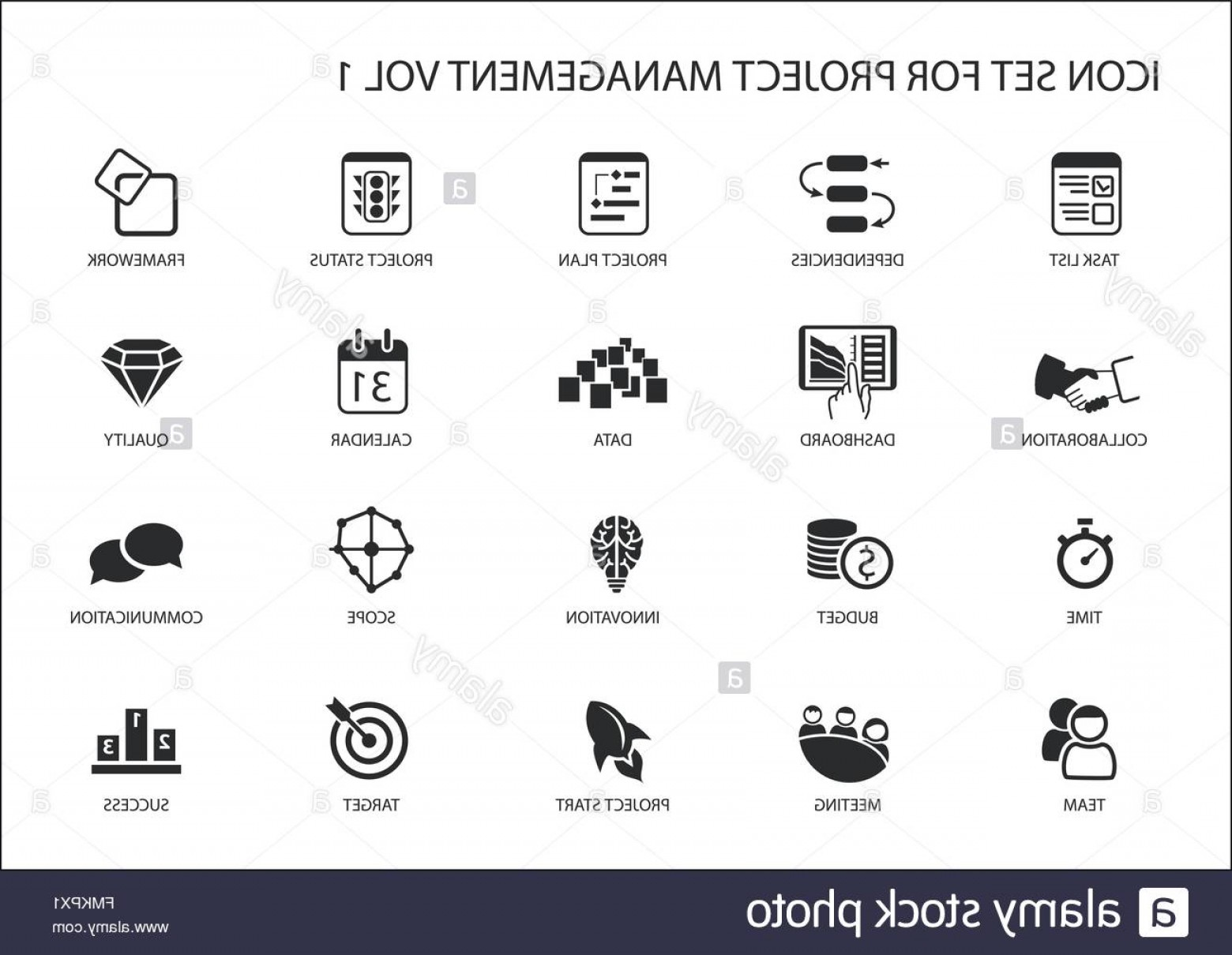 Art Project Icon Vector: Stock Photo Project Management Icon Set Various Vector Symbols For Managing Projects