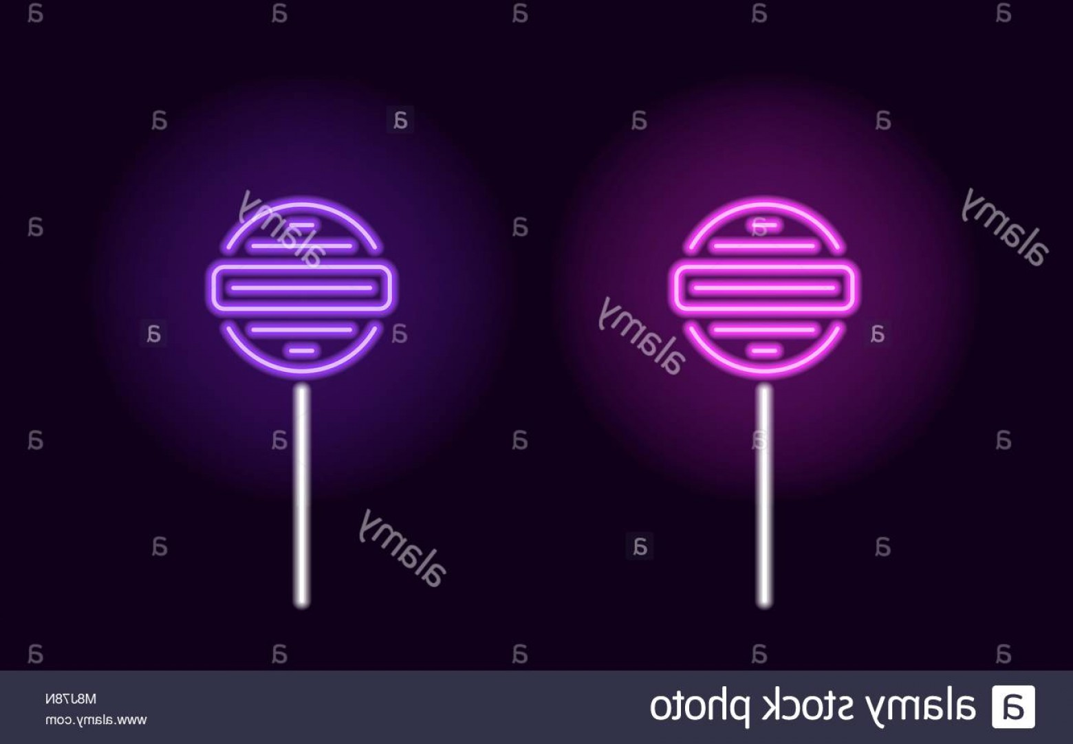 Lollipop Vector Silhouette: Stock Photo Purple And Violet Neon Lollipop Vector Silhouette Of Neon Fruit Lollipop