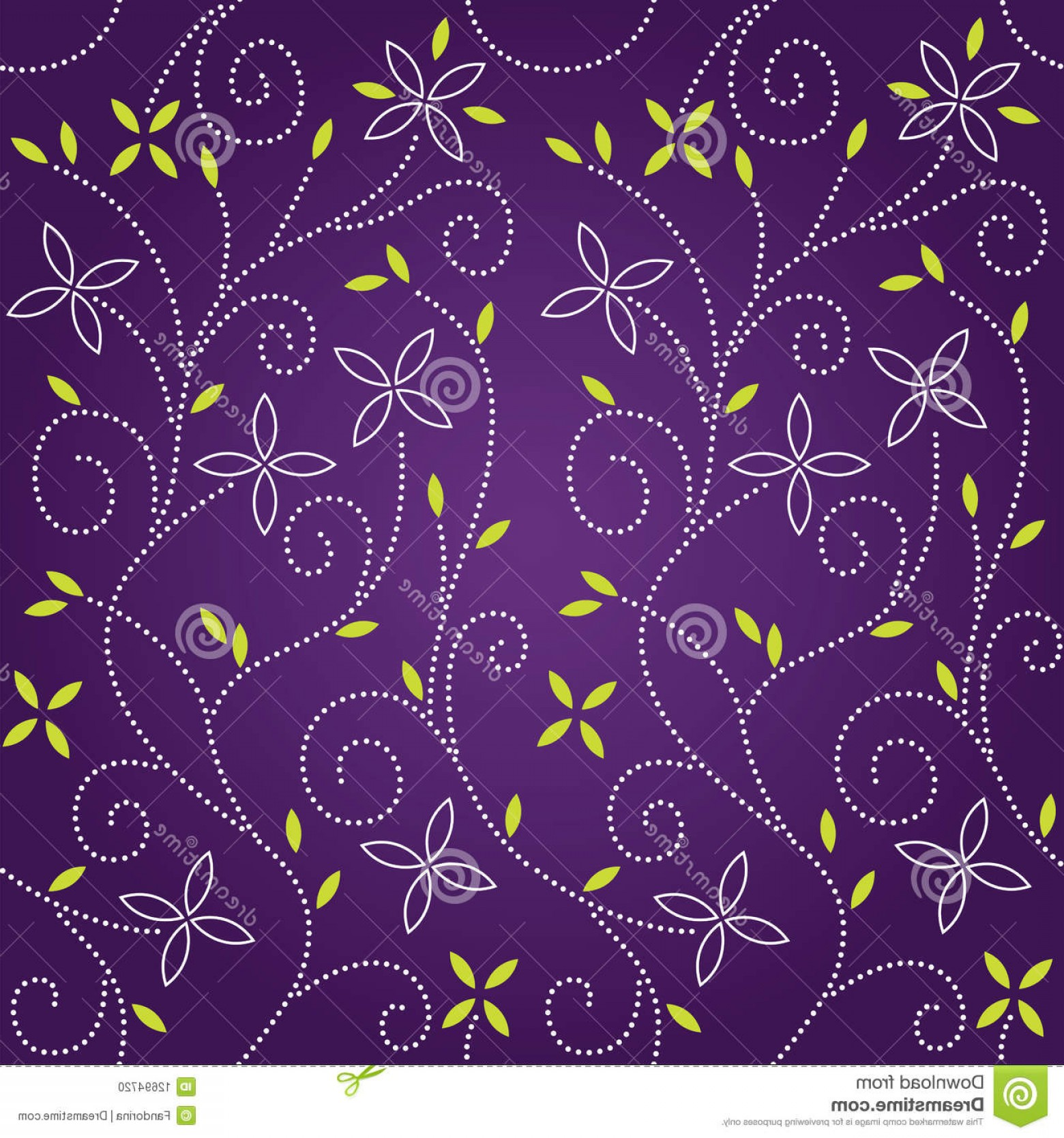 Violet Swirl Design Vector: Stock Photo Purple Swirl Floral Seamless Pattern Image