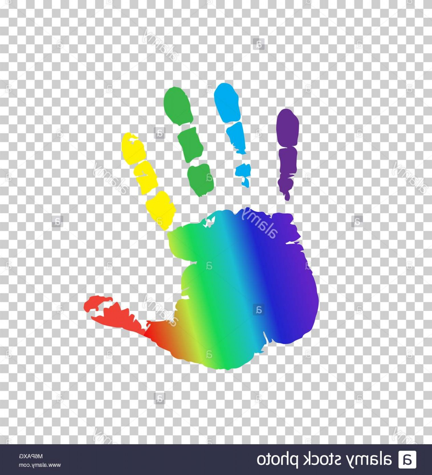 Hand Prints Vector Transparent Background: Stock Photo Rainbow Multicolored Silhouette Of Human Handprint Isolated On Transparent