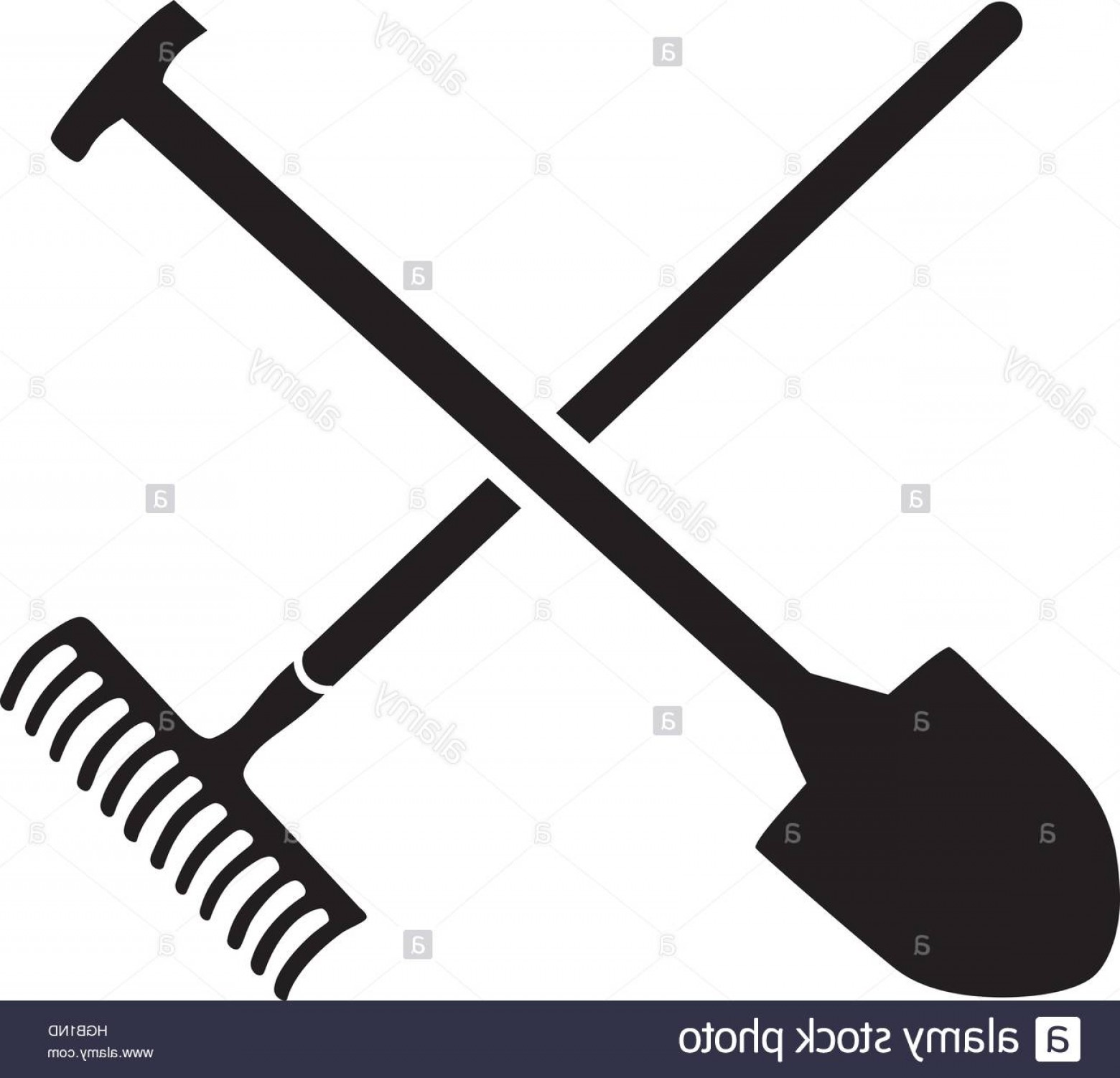 Shovel Vector: Stock Photo Rake With Shovel Crossed