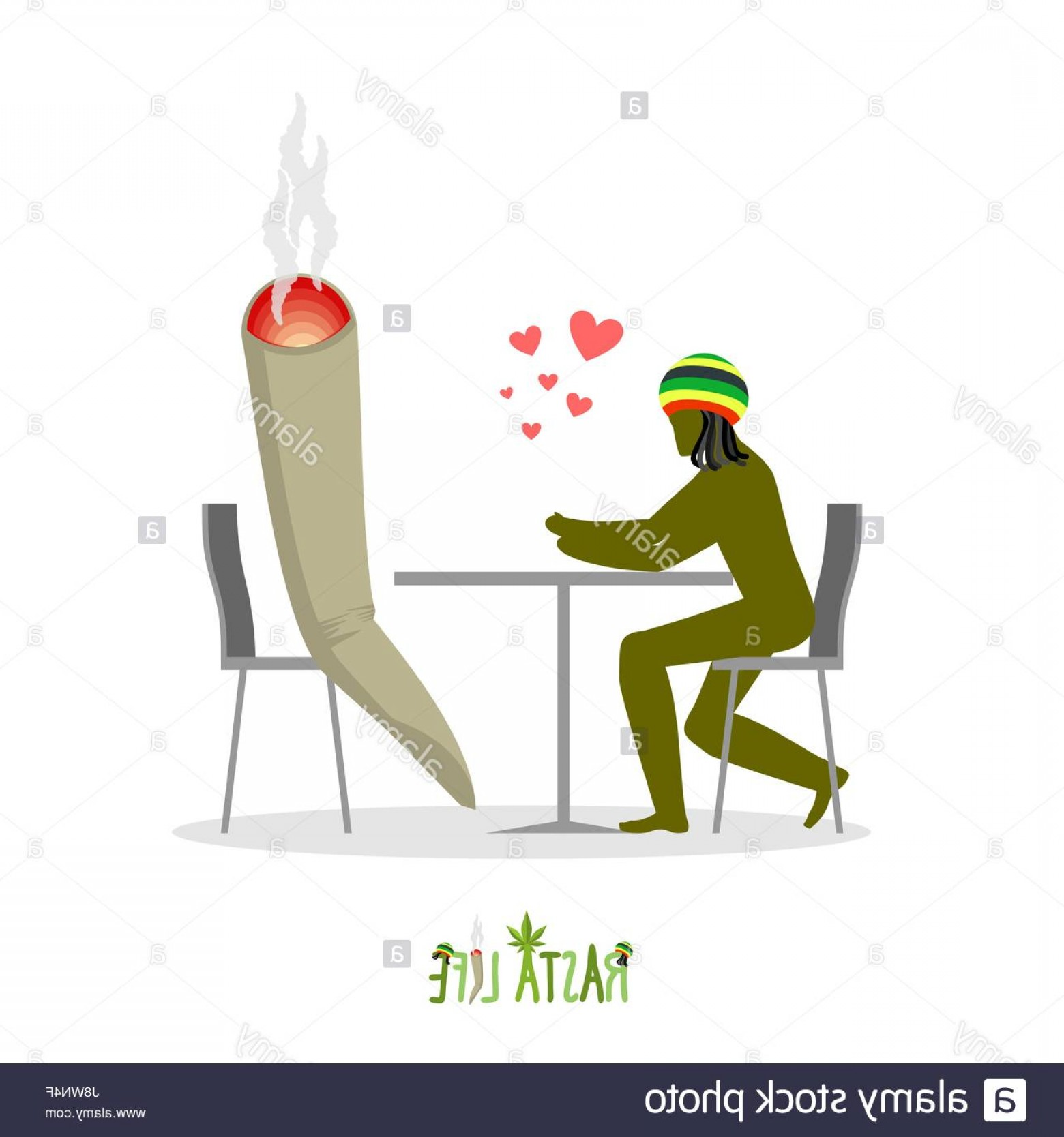 Vector Silhouette Man Smoking Marijuana: Stock Photo Rasta Life Rastaman And Joint Or Spliff In Cafe Man And Smoking Drug