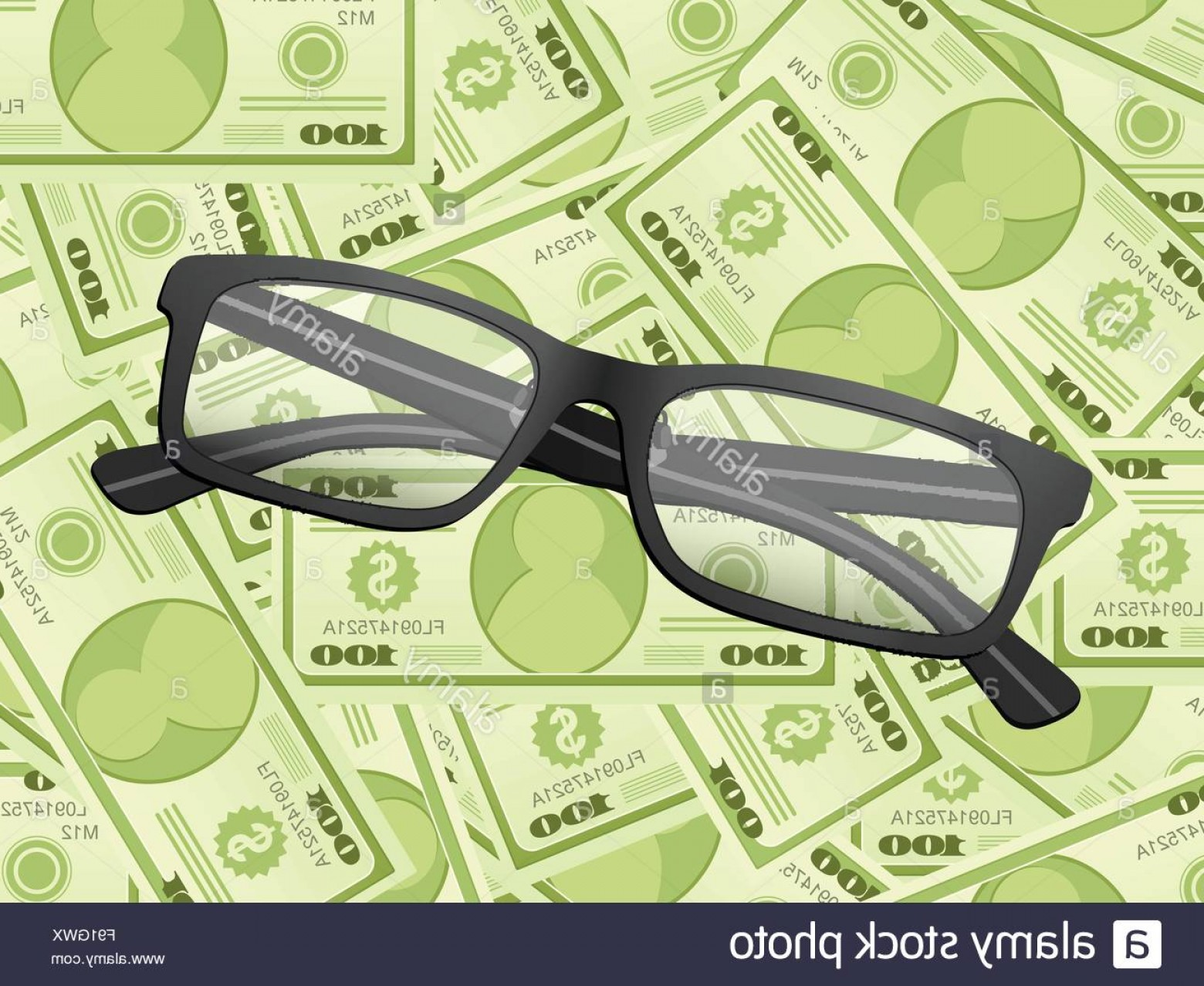 Reading Glasses For Men Vector: Stock Photo Reading Glasses On A Dollars Background Vector Illustration
