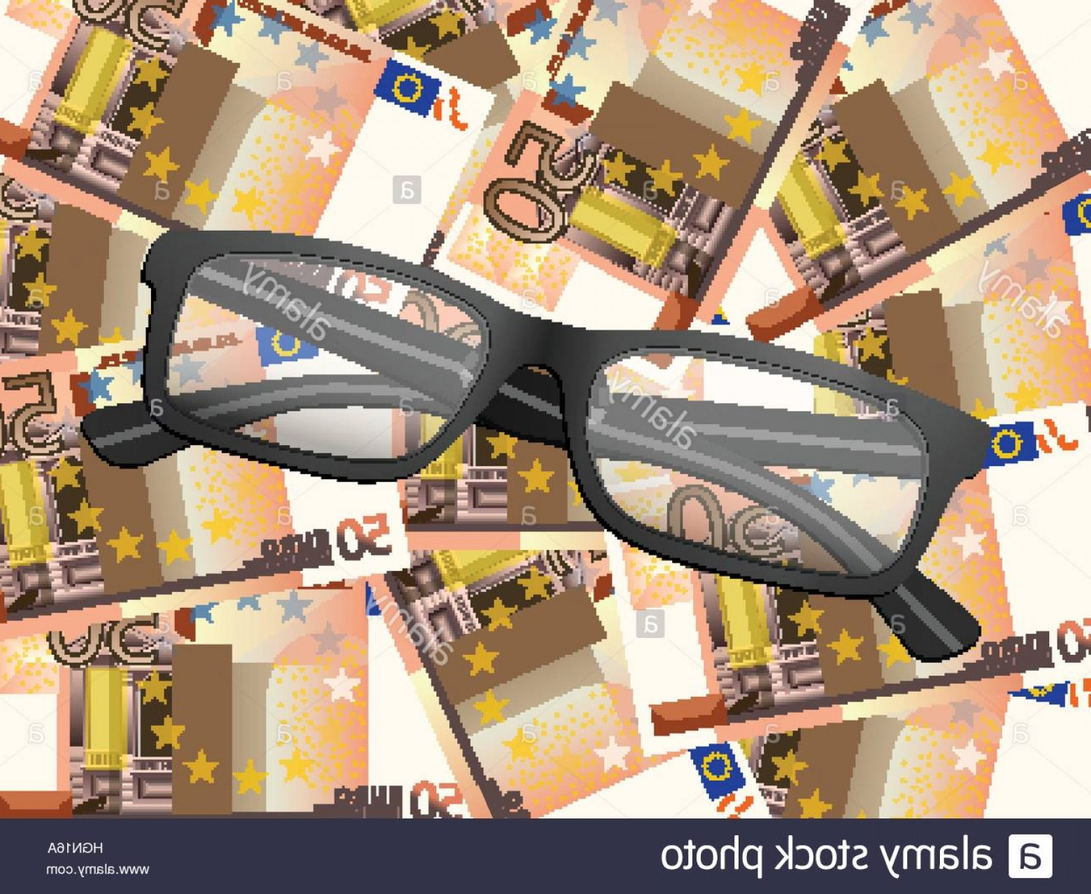 Reading Glasses For Men Vector: Stock Photo Reading Glasses On Fifty Euro Background Vector Illustration