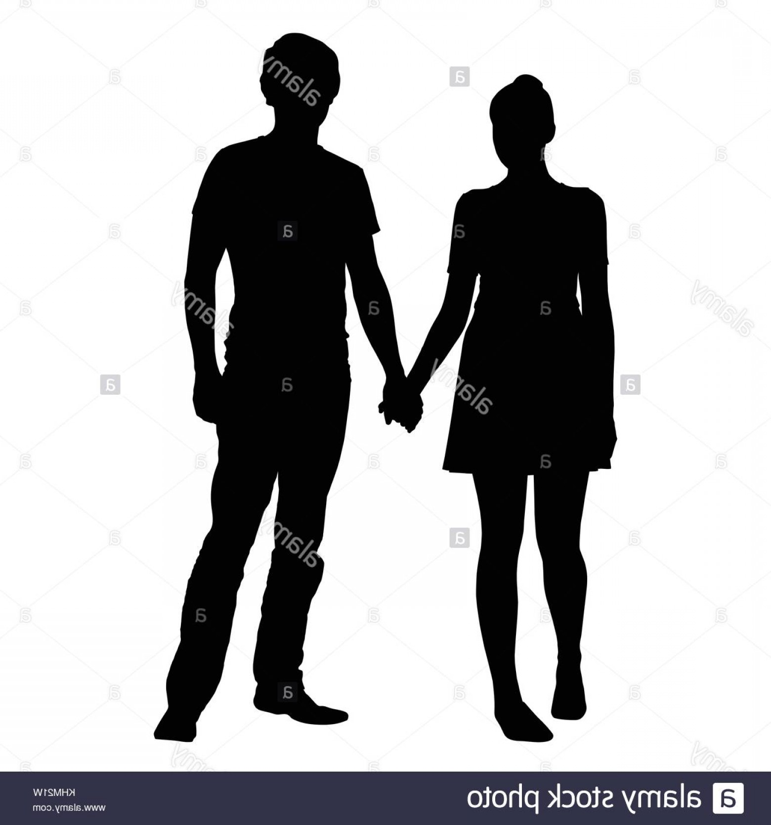 Male Silhouette Vector Art: Stock Photo Realistic Silhouette Of Young Man And Woman Holding Hands Vector