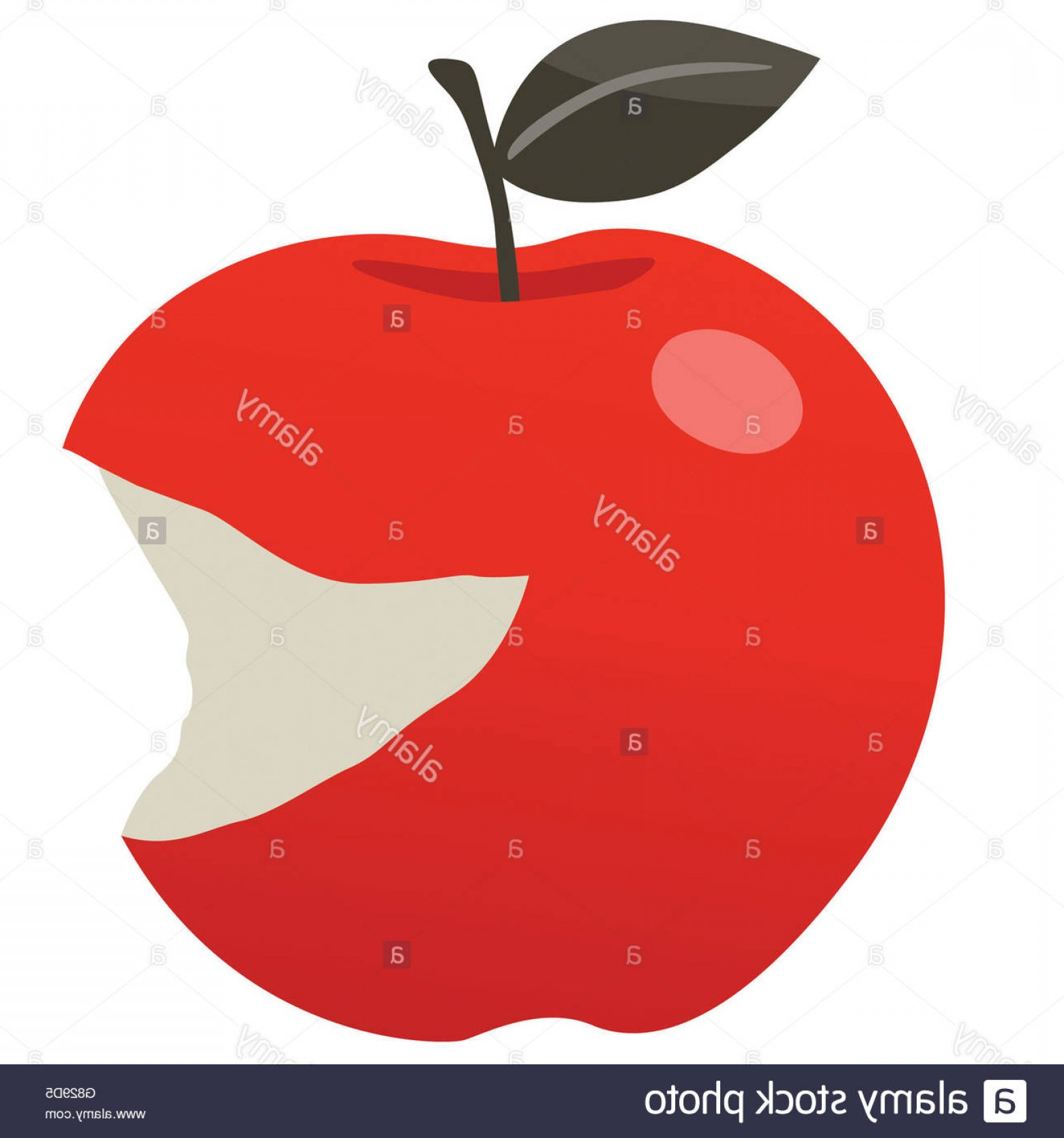 Red Apple Vector Logo: Stock Photo Red Delicious Bitten Apple Vector