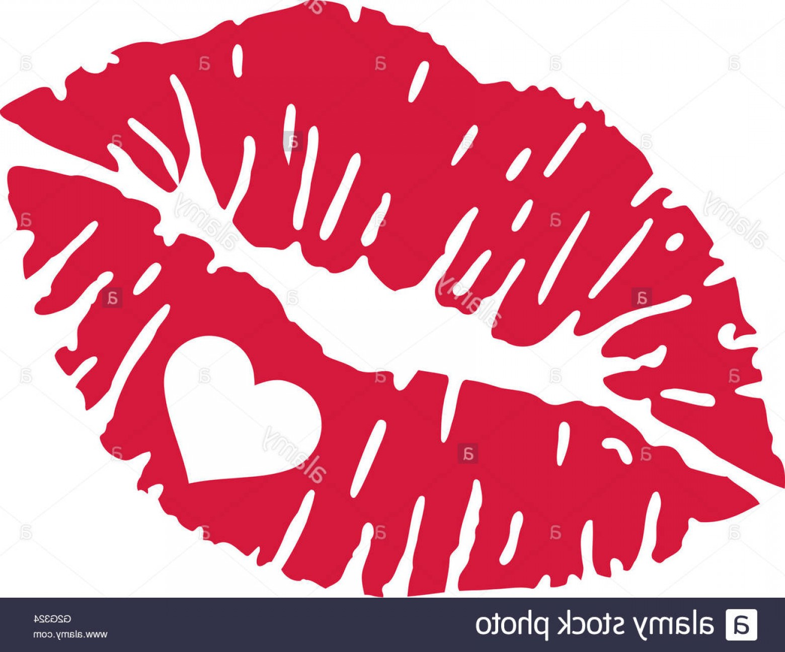 Vector Female Lips: Stock Photo Red Kiss Lips With Heart