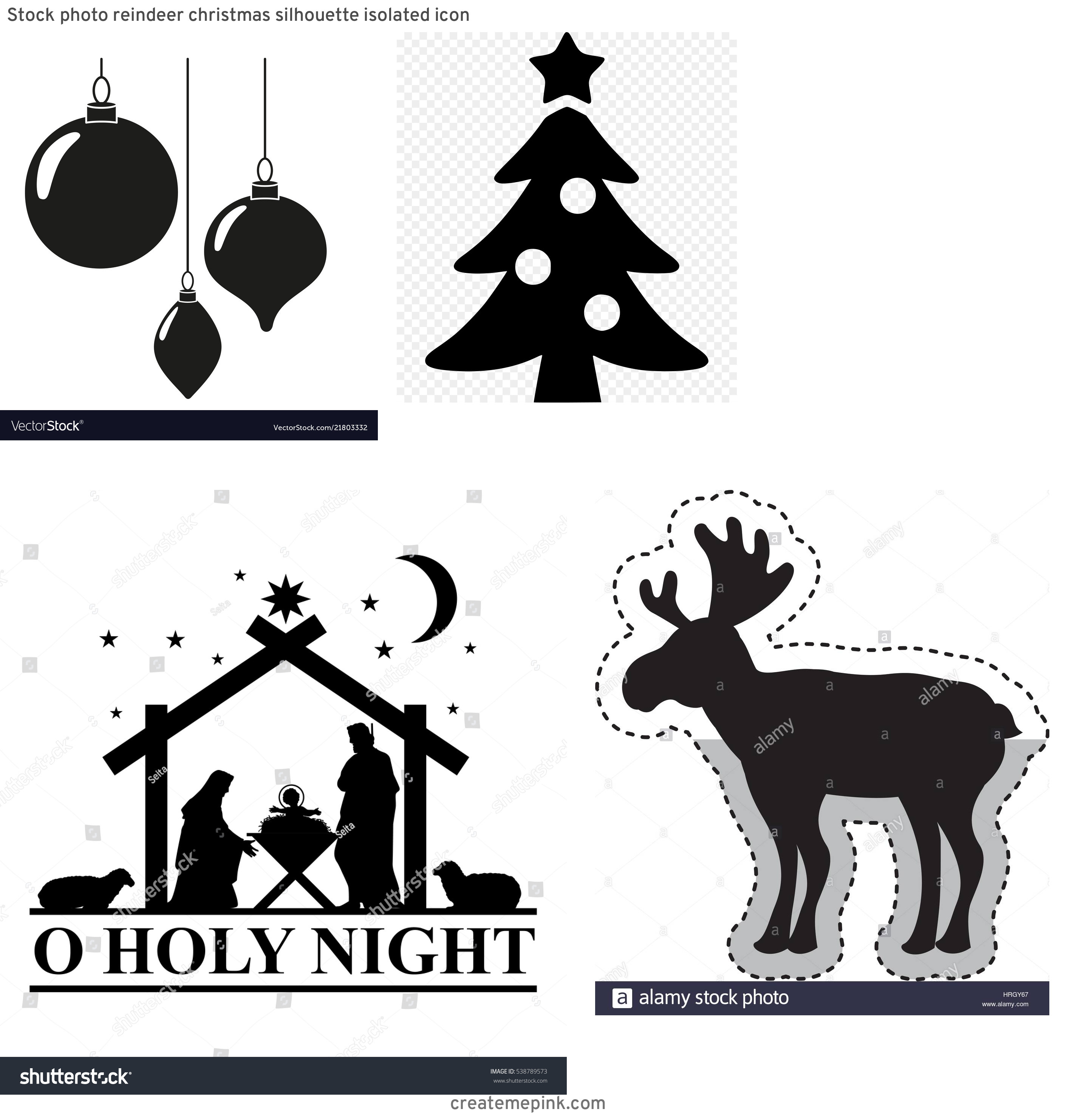 Christmas Silohette Vector: Stock Photo Reindeer Christmas Silhouette Isolated Icon
