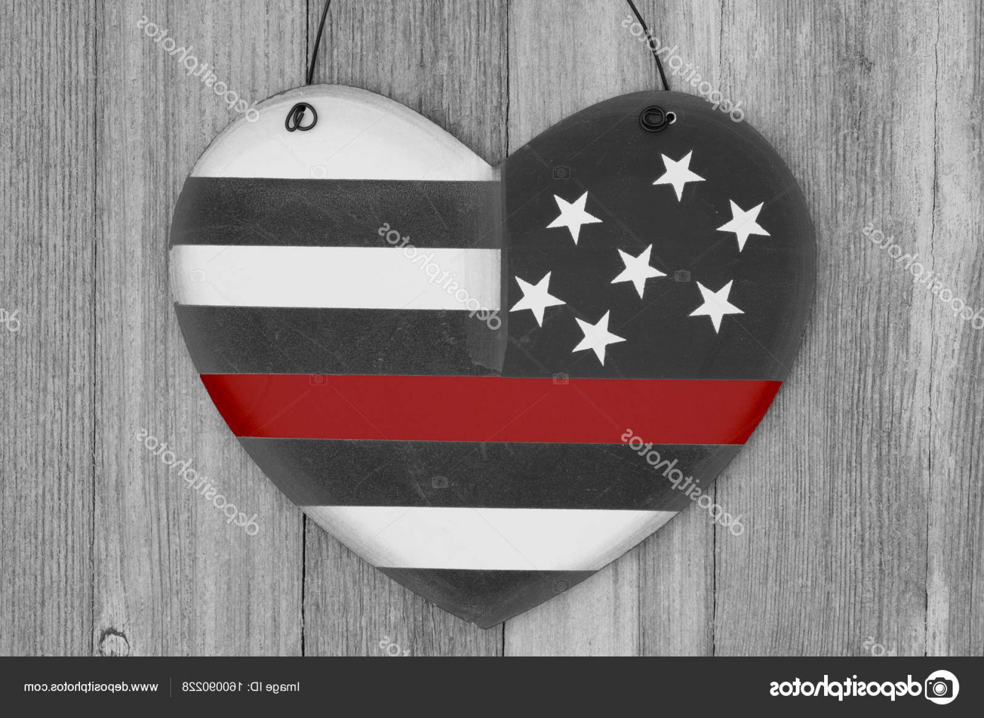 Thin Red Line Distressed Flag Vector: Stock Photo Retro I Love Thin Red